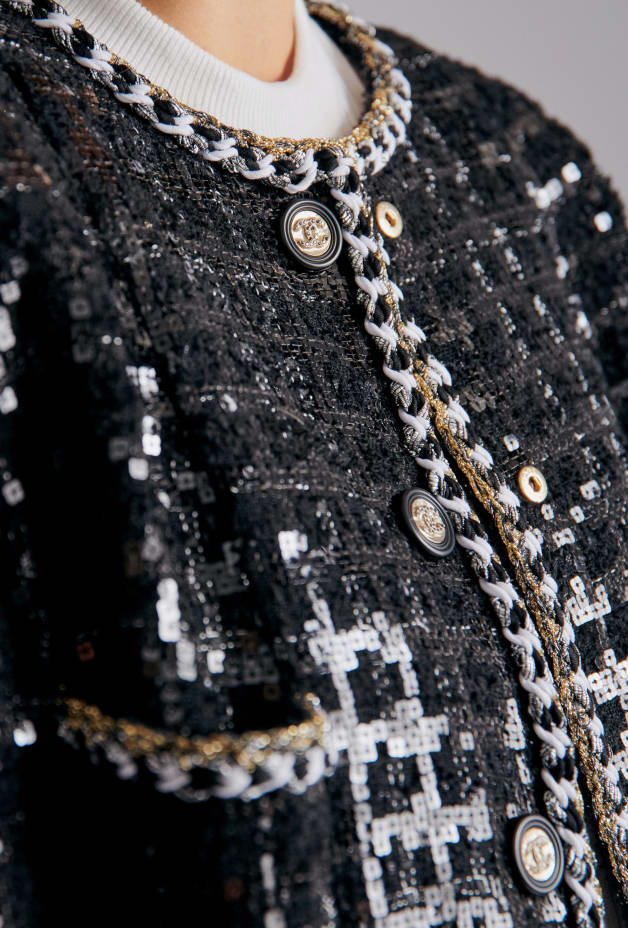image 2 - Jacket - Embroidered Glittered Tweed - Black & White