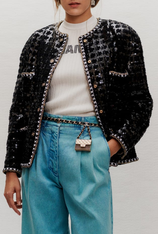 image 3 - Jacket - Embroidered Glittered Tweed - Black & White