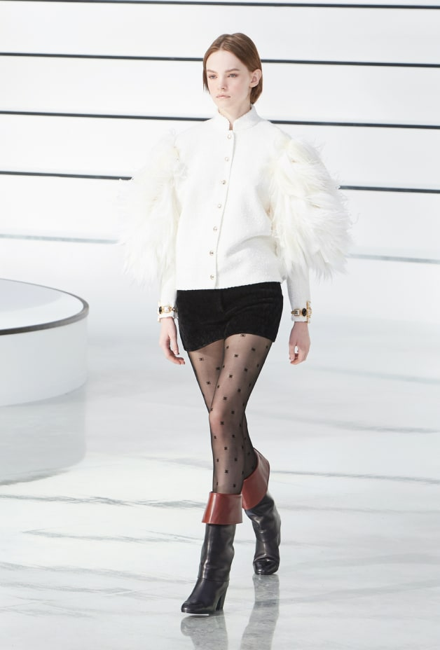 image 1 - Veste - Tweed brodé de plumes - Écru