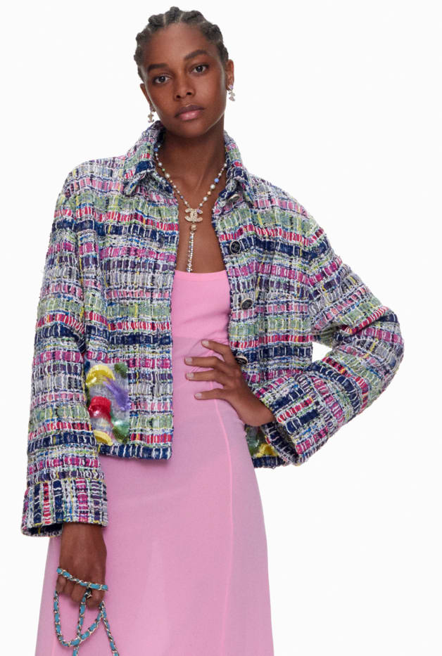image 1 - Jacket - Embroidered Cotton & Silk Tweed - Multicolour