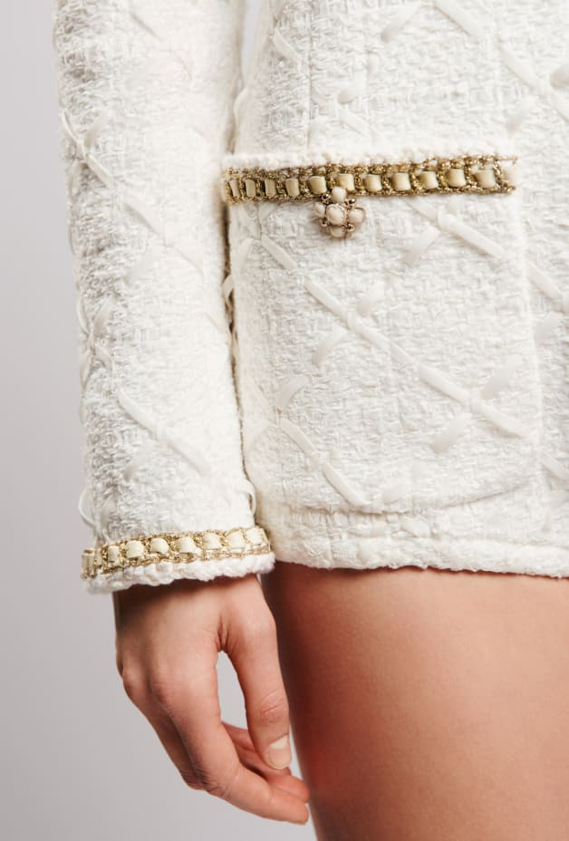 image 3 - Jumpsuit - Embroidered Tweed - White & Gold