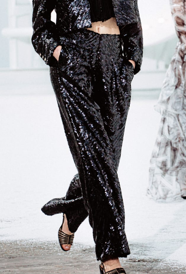 image 2 - Pants - Sequin Embroidered Silk Muslin - Black