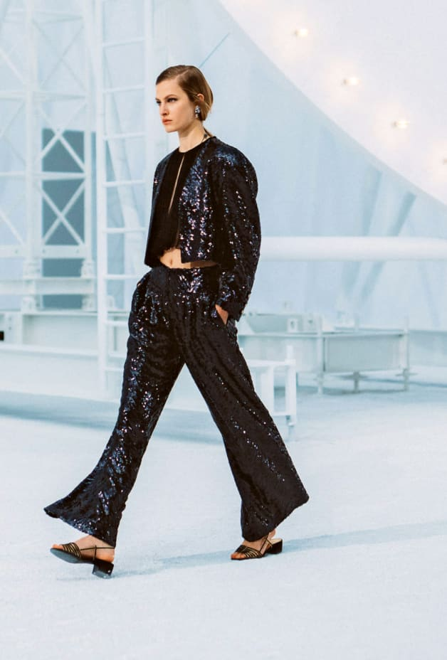 image 1 - Pants - Sequin Embroidered Silk Muslin - Black