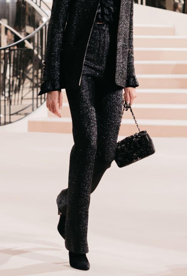 image 2 - Pants - Wool, Silk & Metallic Fibers - Black