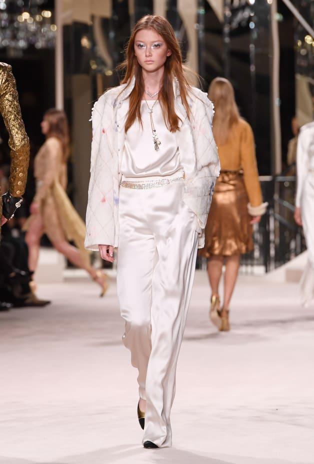 image 1 - Pantalon - Crêpe satin - Blanc