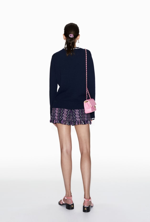 image 2 - Pullover - Cashmere - Navy Blue & White