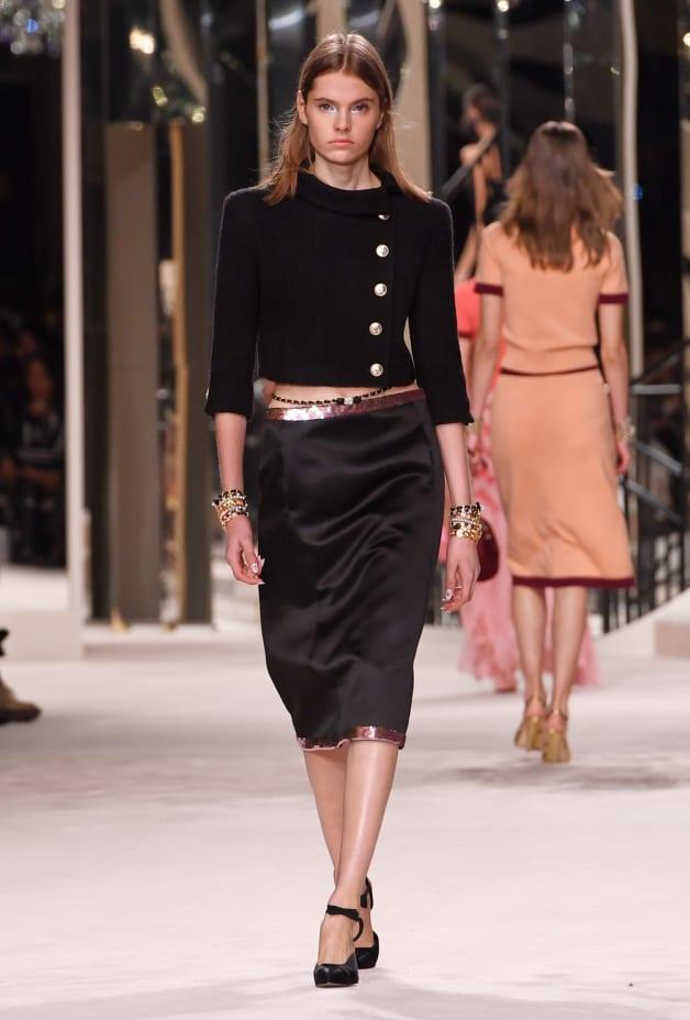 image 1 - Skirt - Embroidered Silk & Mixed Fibers - Black