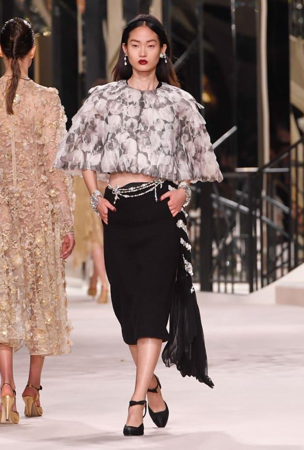 image 1 - Saia - Tweed de lã bordado - Preto