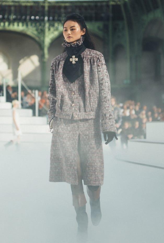 image 1 - Skirt - Wool & Cotton Tweed - Burgundy, White & Black