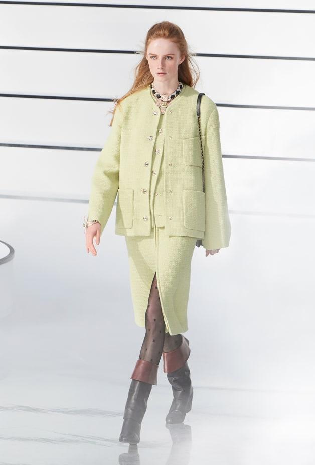 image 1 - Jupe - Tweed de laine - Vert