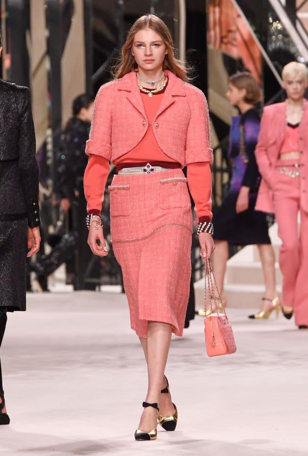 image 1 - Skirt - Wool Tweed - Pink & Ecru