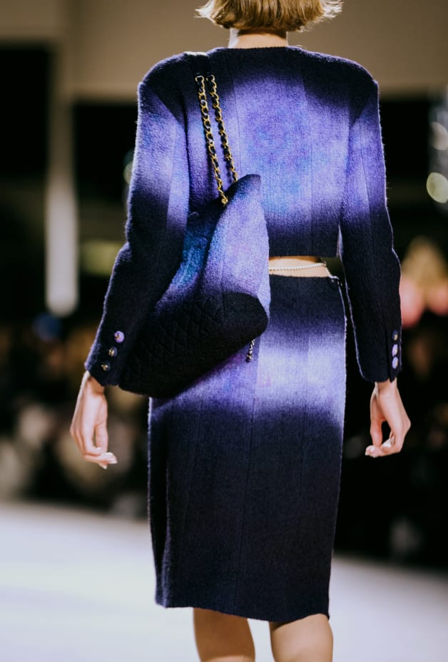 image 2 - Jupe - Tweed de laine - Violet, noir & bleu