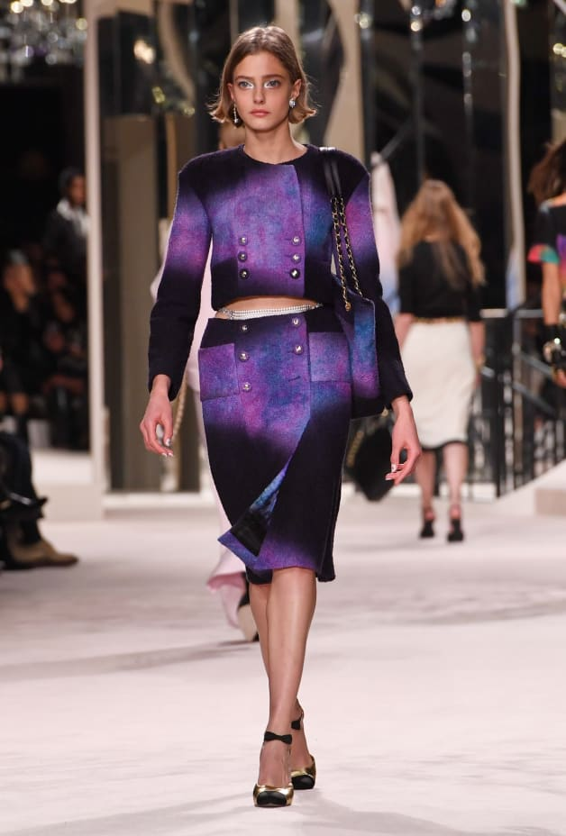 image 1 - Jupe - Tweed de laine - Violet, noir & bleu