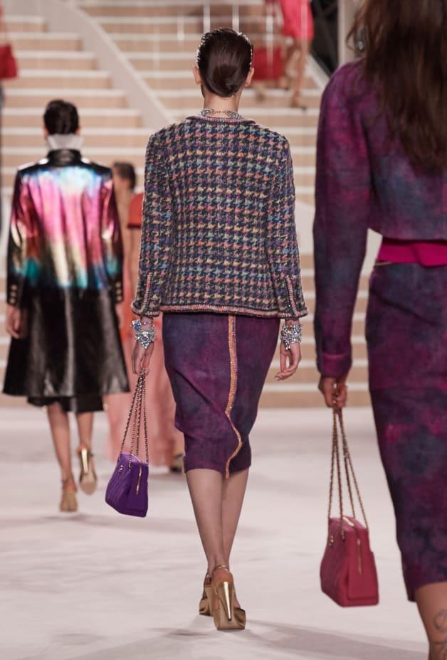 image 2 - Skirt - Wool Tweed - Purple & Pink