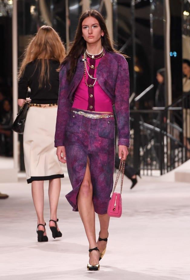 image 1 - Skirt - Wool Tweed - Purple & Pink