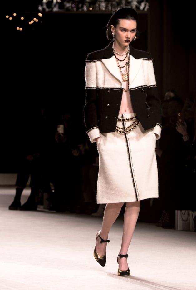 image 2 - Jupe - Tweed de laine - Blanc
