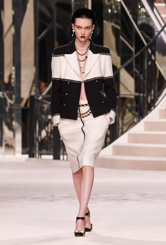 image 1 - Jupe - Tweed de laine - Blanc