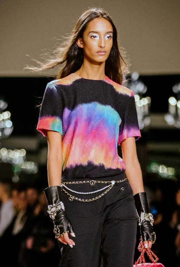 image 1 - Top - Silk - Black & Multicolor