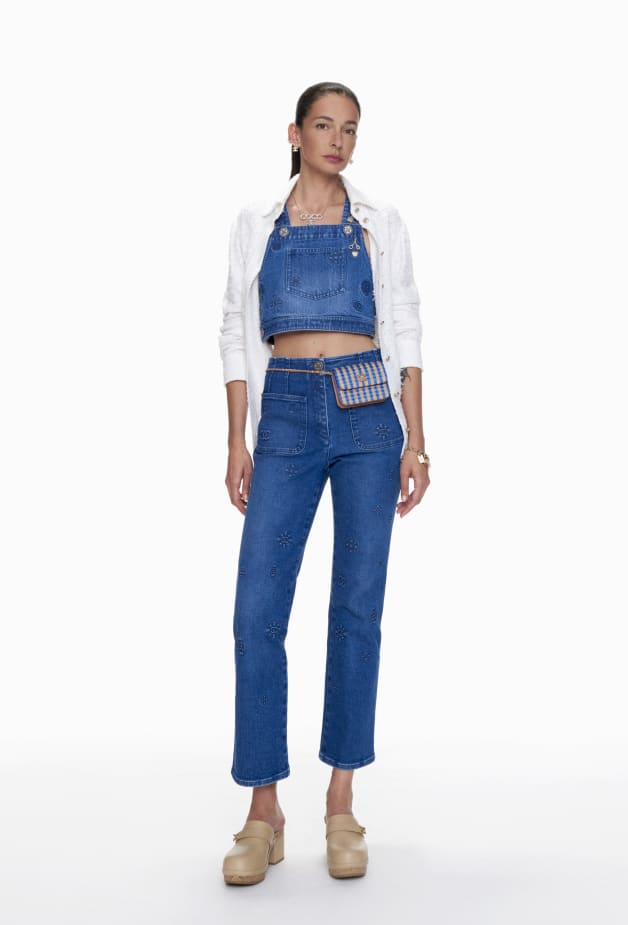image 1 - Top - Embroidered Washed Denim - Azul