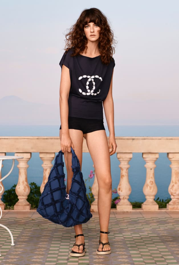 image 1 - Top - Embroidered Cotton  - Navy Blue & White