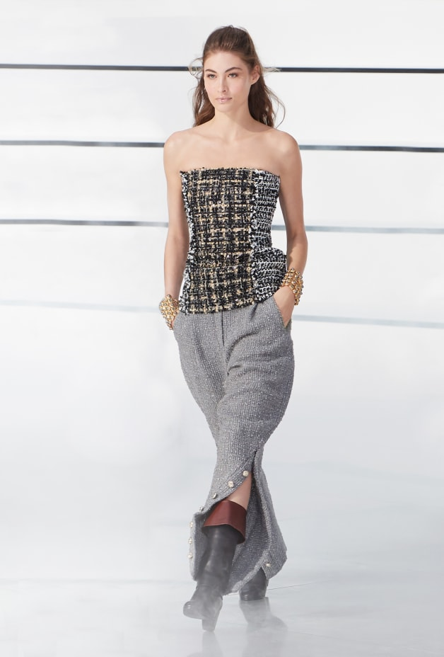 image 1 - Top - Embroidered Tweed - White, Black & Gray