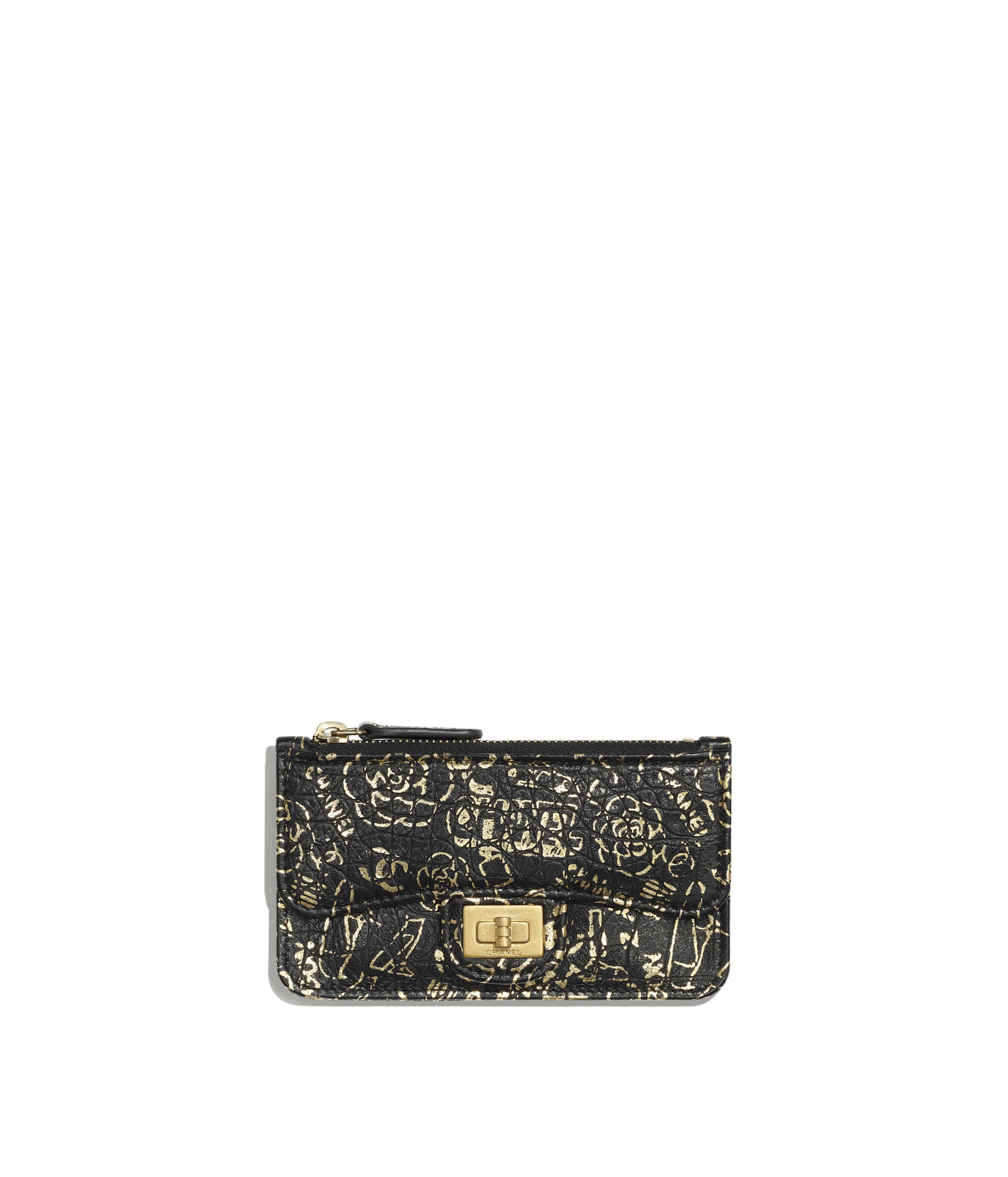 5640b09eed3e 2.55 Flap Card Holder Crocodile Embossed Printed Leather & Gold-Tone Metal,  Black & Gold Ref. AP0624B00979N0784