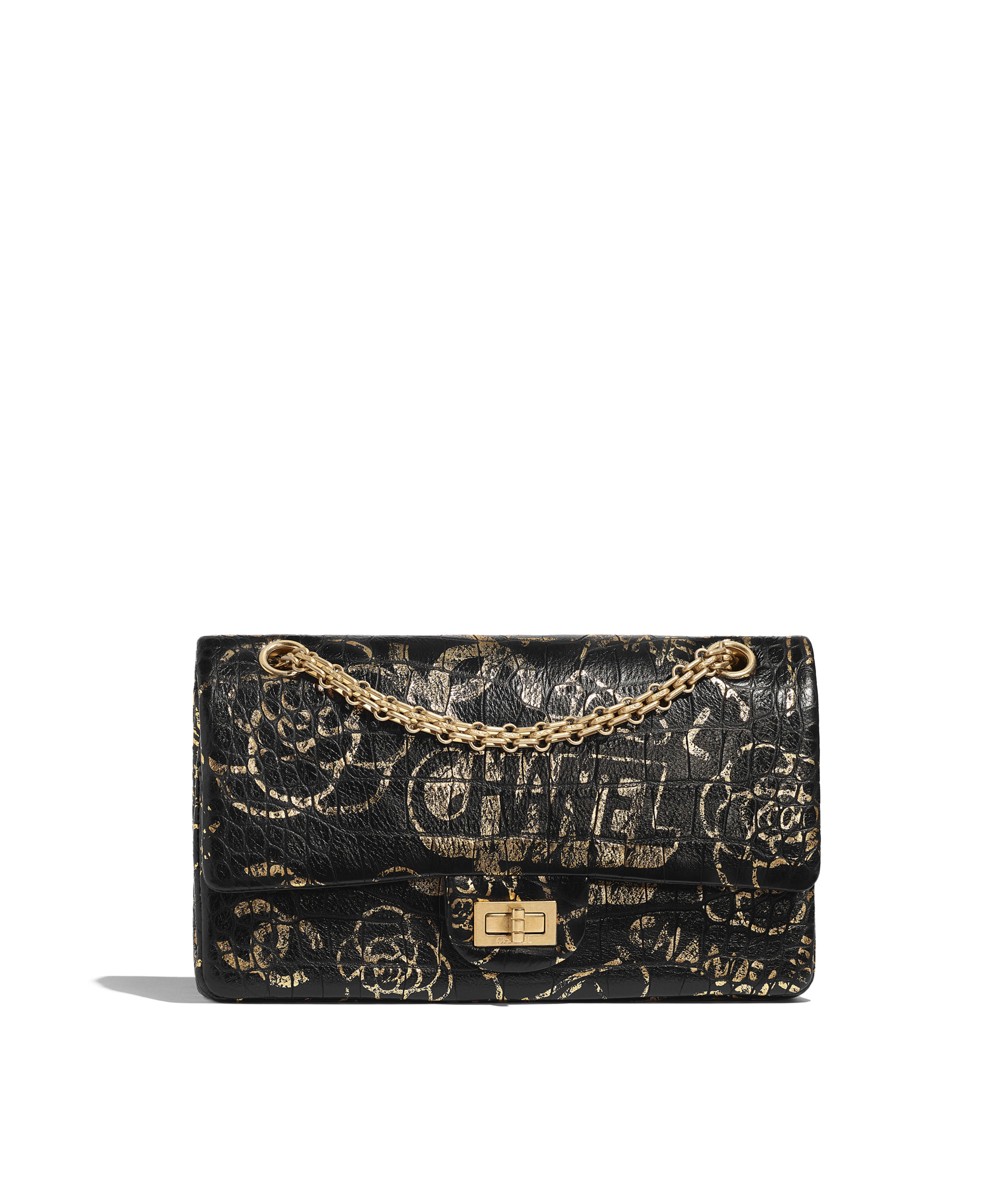 be08b2e33bb5 2.55 Handbag Crocodile Embossed Printed Leather & Gold-Tone Metal, Black &  Gold Ref. A37586B00979N0784