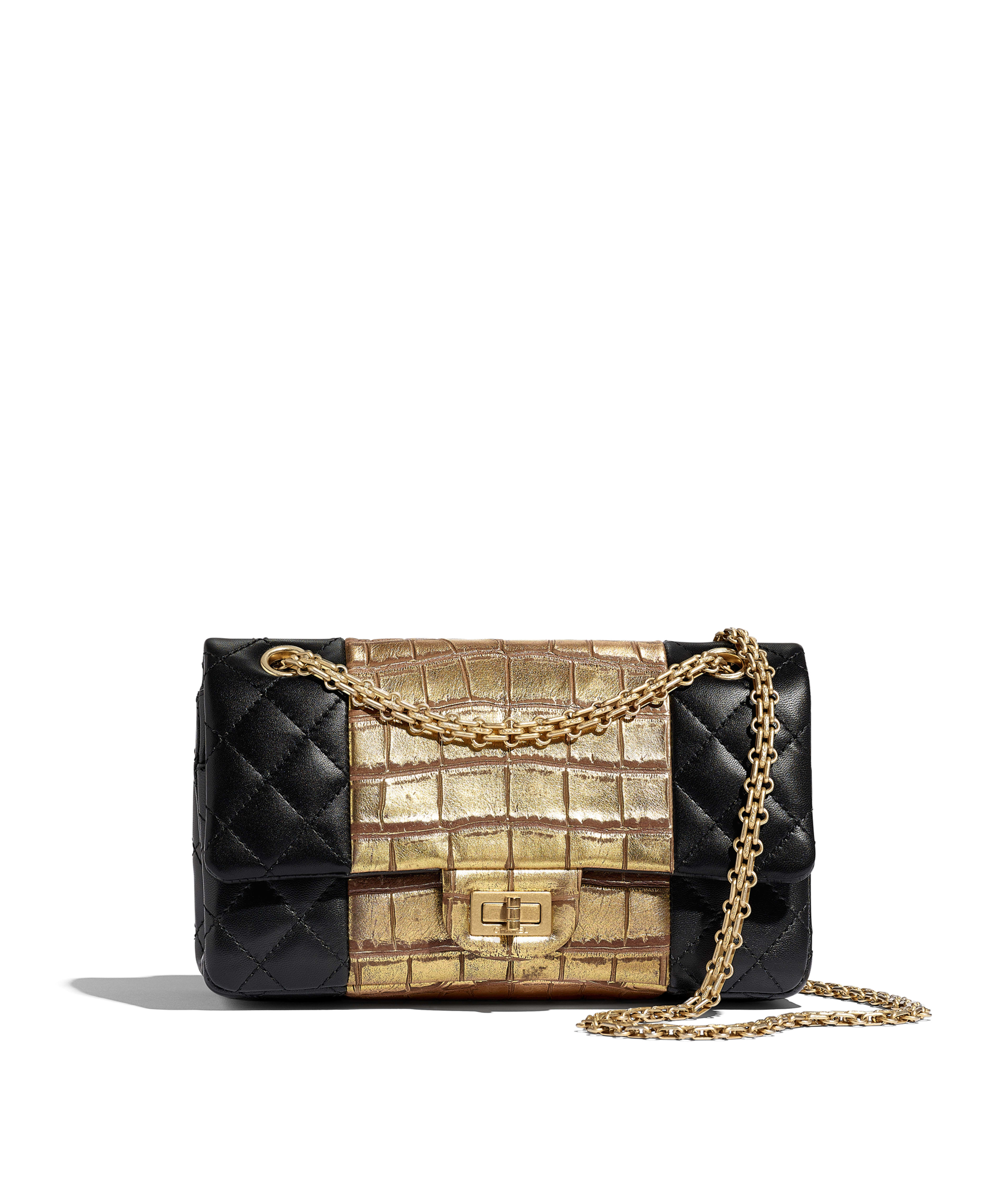c8666948402434 2.55 Handbag Lambskin, Crocodile Embossed Calfskin & Gold-Tone Metal, Black  & Gold Ref. A37586B00922N0784