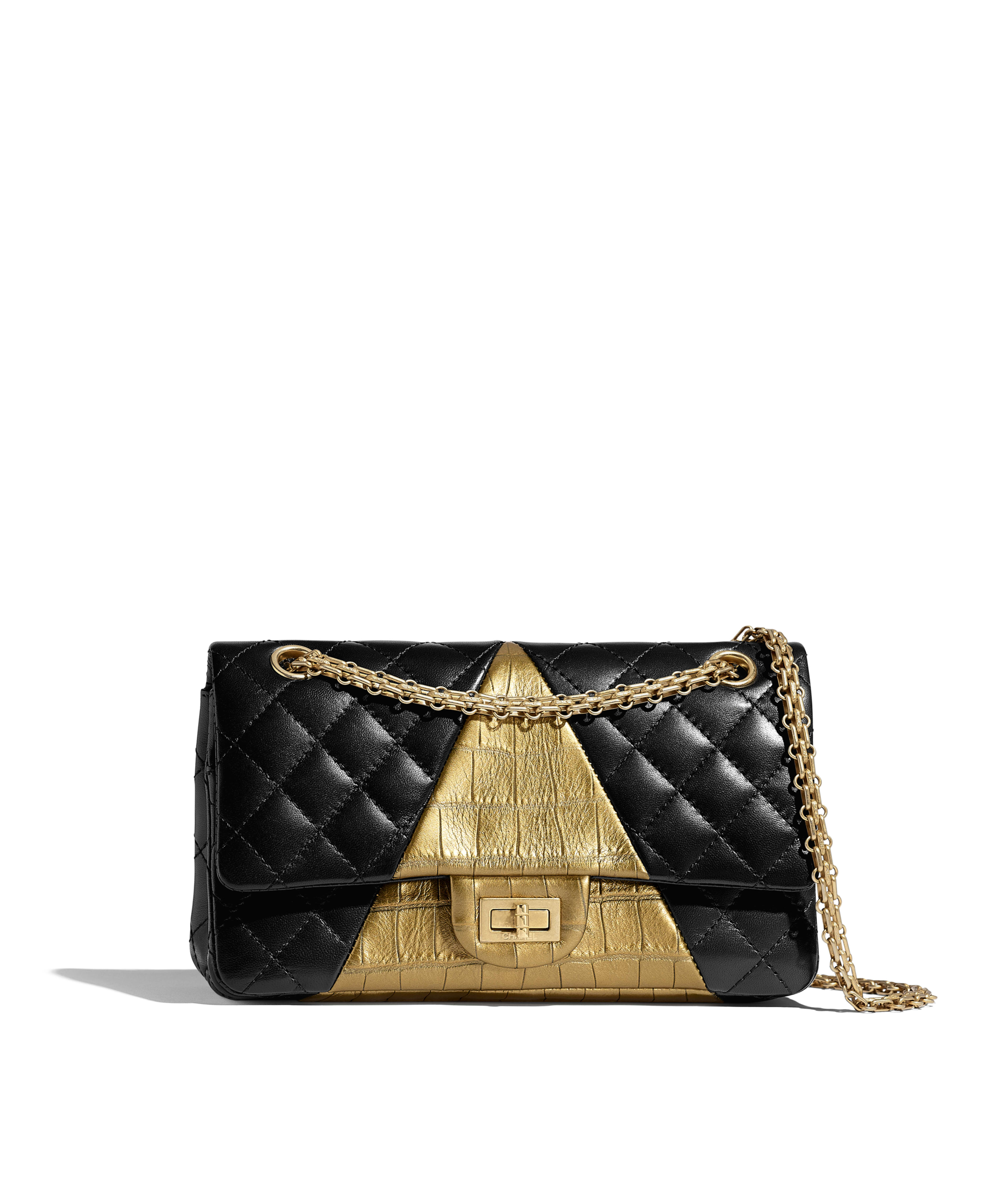 54a15add021823 2.55 Handbag Lambskin, Crocodile Embossed Calfskin & Gold-Tone Metal, Black  & Gold Ref. A37586B01066N0784