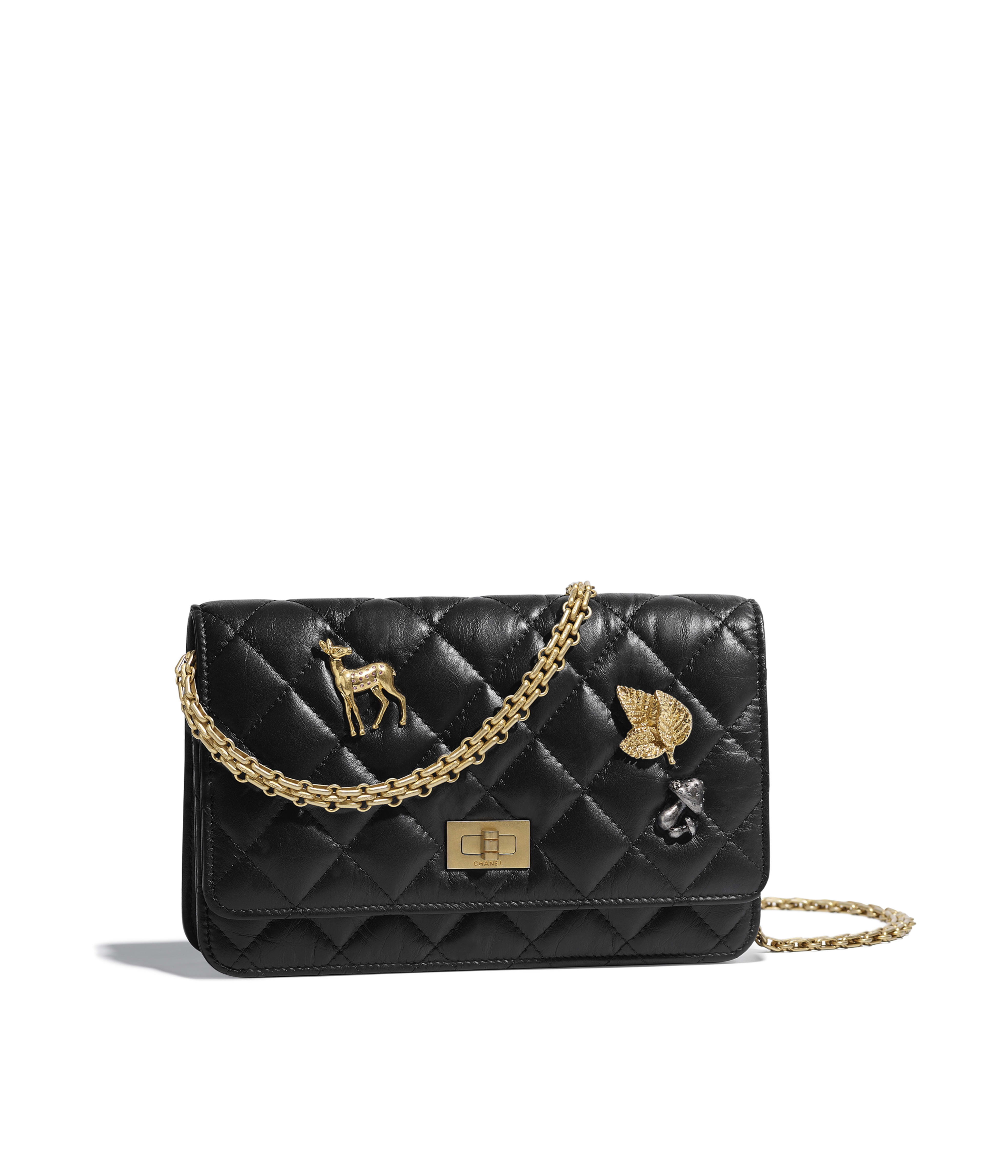 2.55 Wallet on Chain Aged Calfskin, Charms   Gold-Tone Metal, Black Ref.  A70328Y83883C3906 013c75ad803