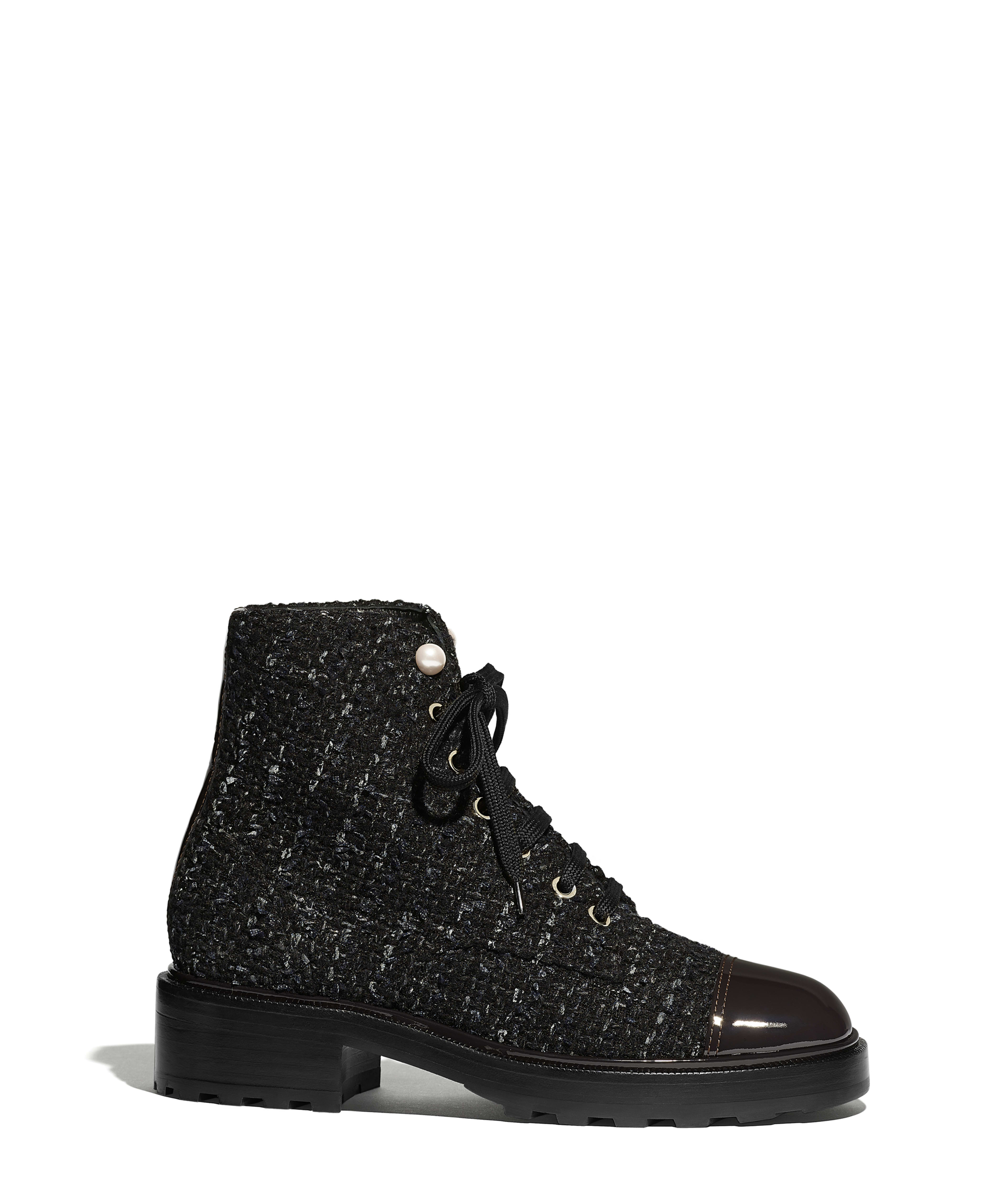 e6eae0514dc29 Ankle Boots Tweed & Patent Calfskin, Black, Blue & Gray Ref.  G35154Y53934K1842