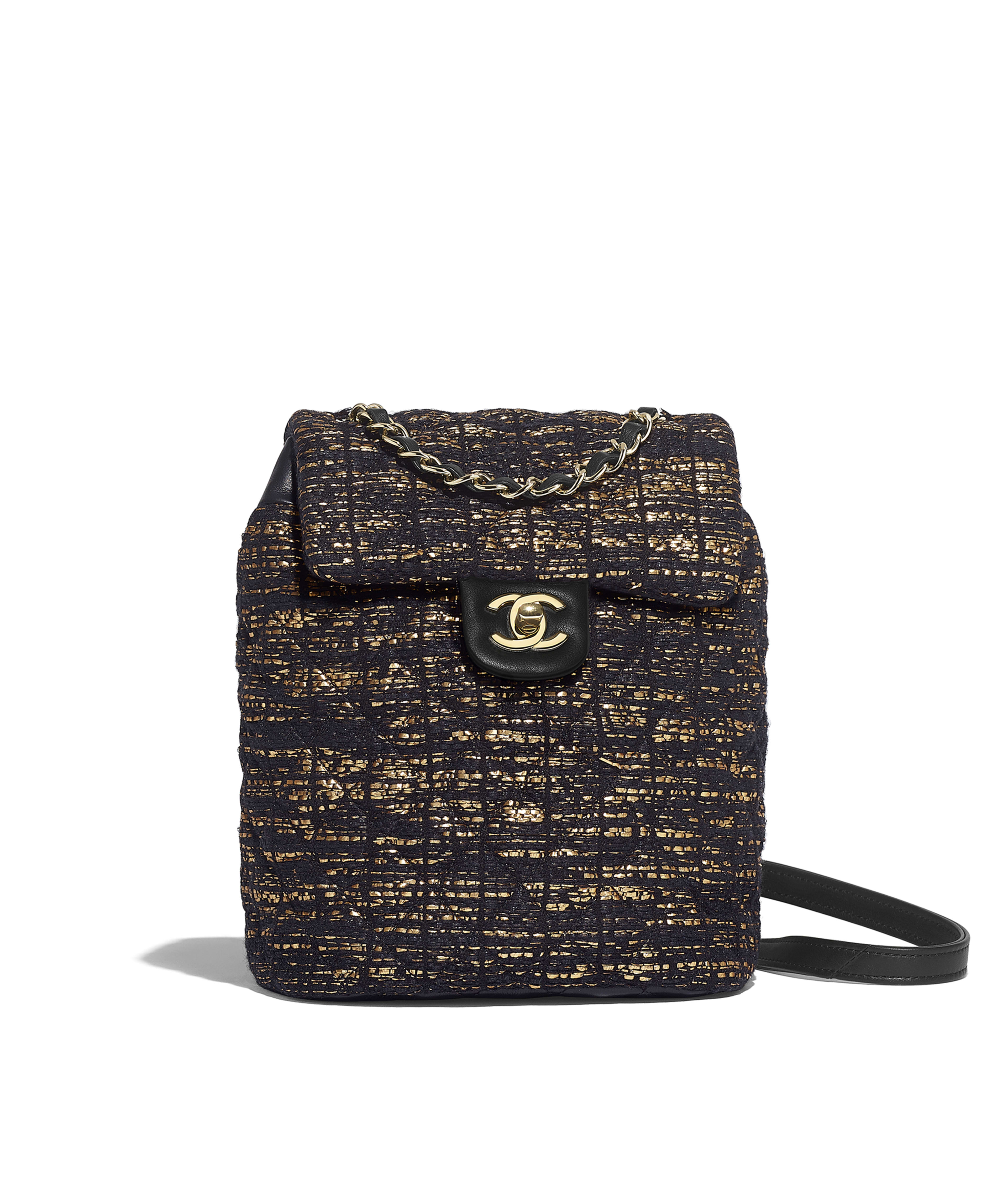 3621209f98c6 Backpack Tweed & Gold-Tone Metal, Black & Gold Ref. A69964B01091MG458