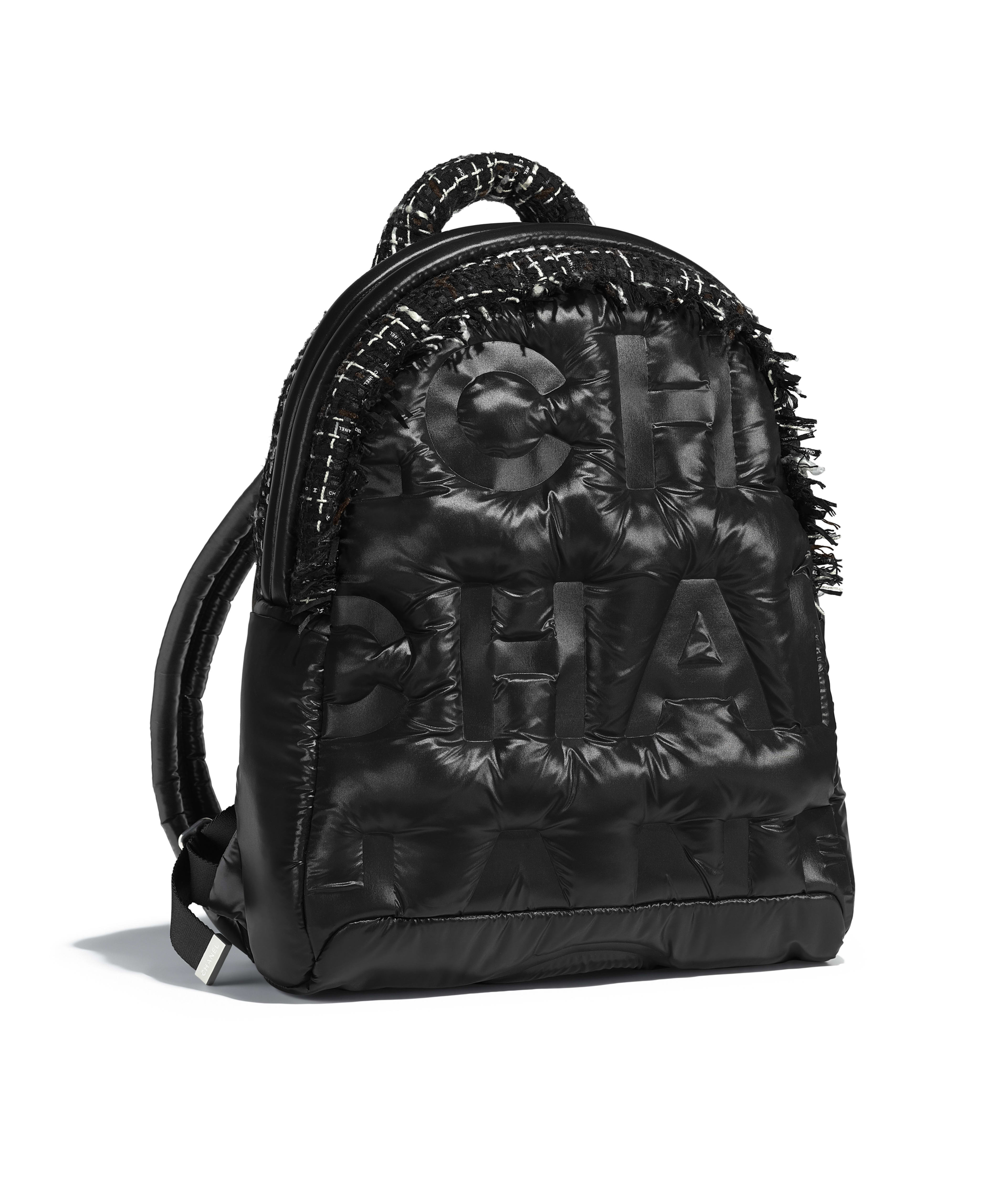 Backpack Nylon Tweed Silver Tone Metal Black Navy Brown Ecru Ref A91933y83830k0991