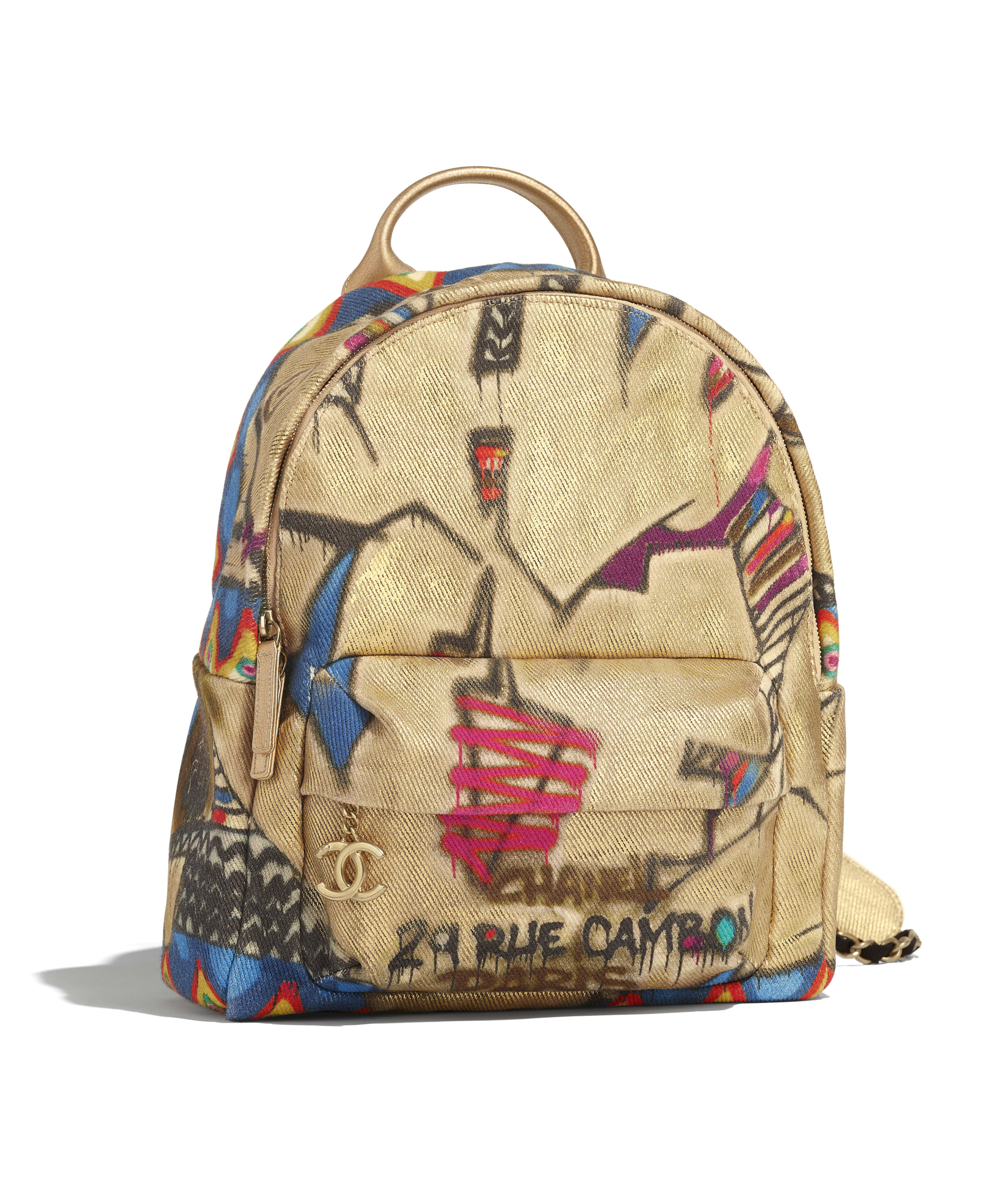 346a76842284 Backpack Calfskin, Cotton & Gold-Tone Metal, Multicolor Ref.  AS0867B0090099999