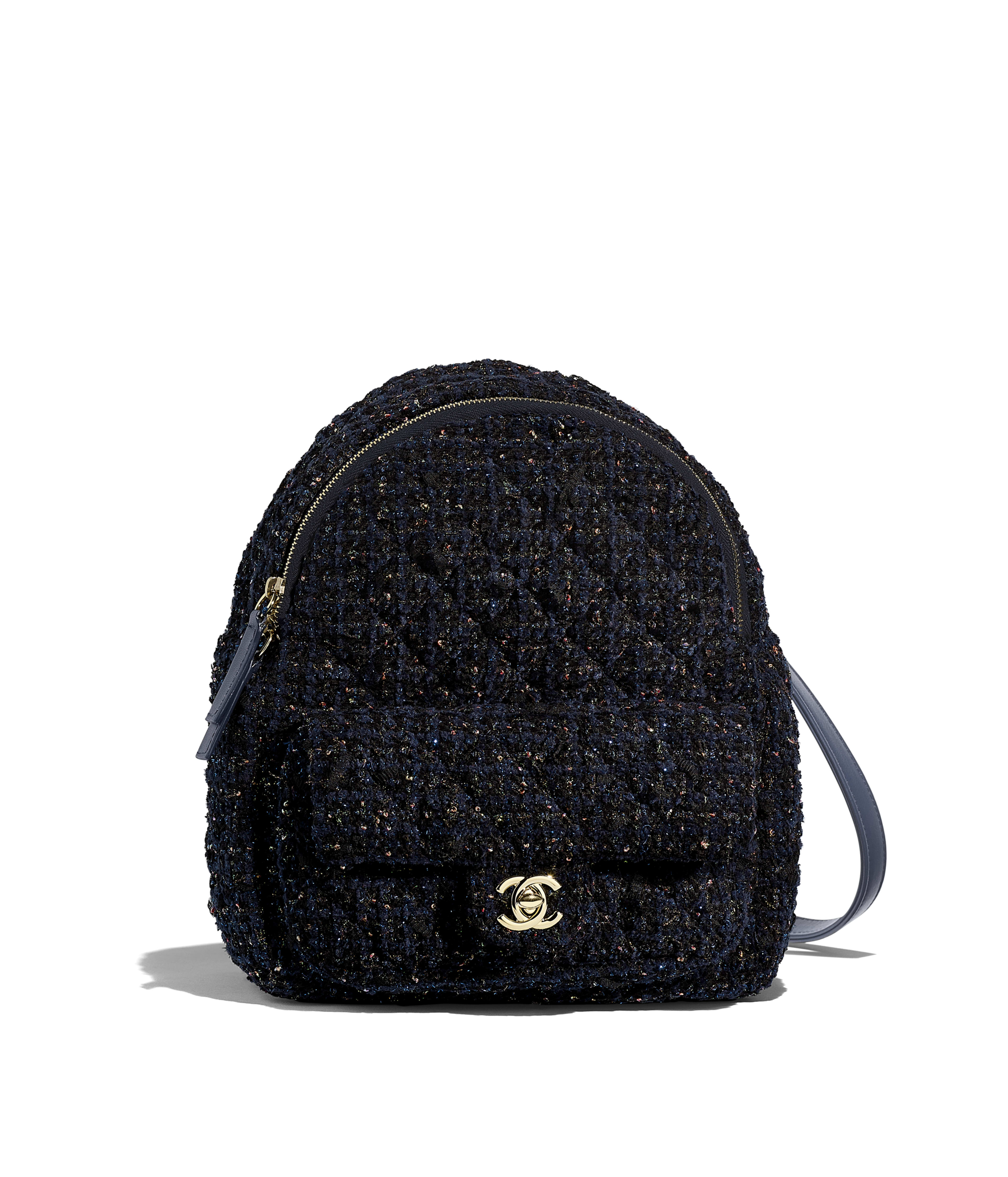 ac2a53d7497e Backpack Tweed & Gold-Tone Metal, Navy Blue, Green & Pink Ref.  AS0870B01030MF311