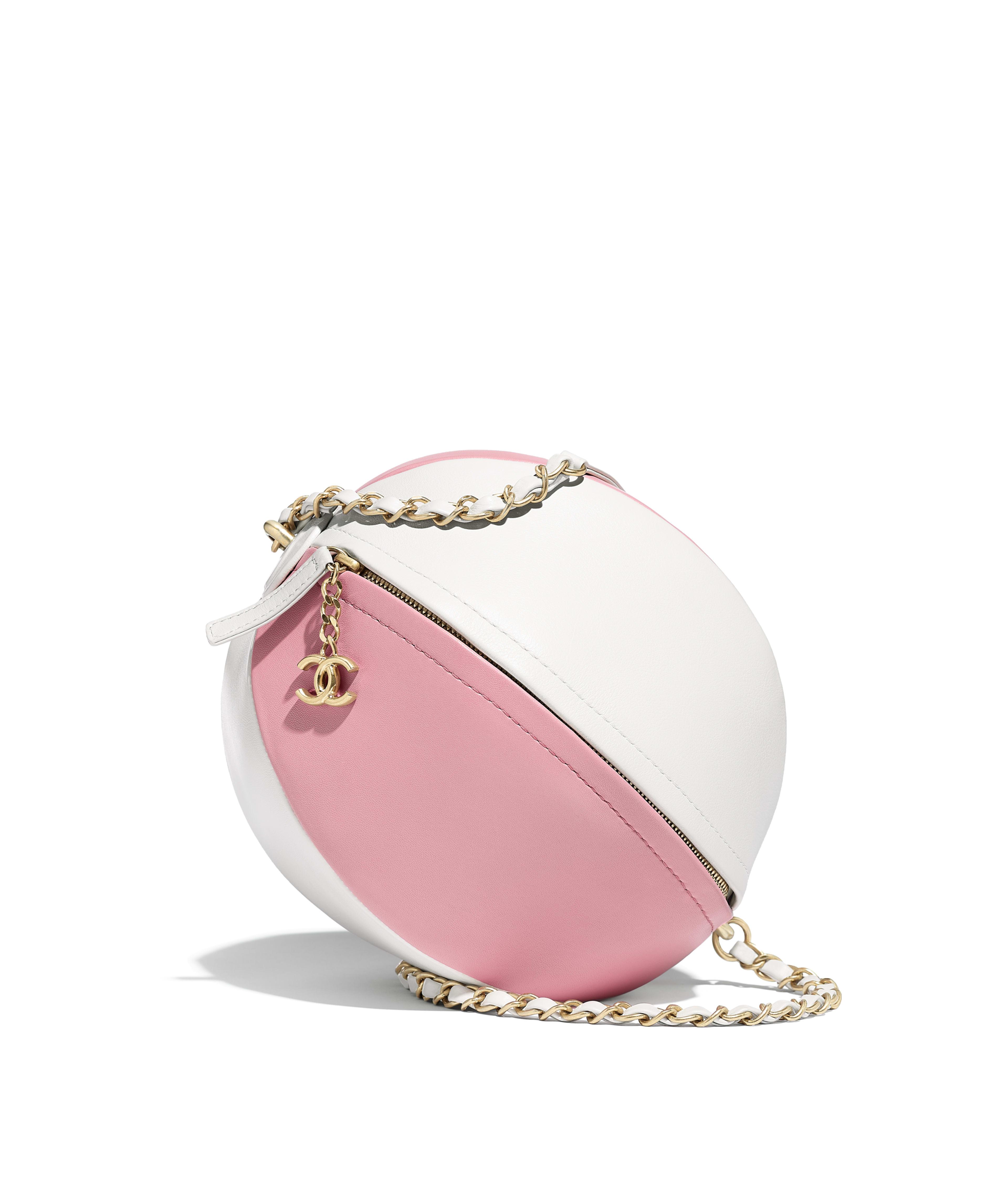 dc33dda63e5b70 Beach Ball Handbag Calfskin & Gold-Tone Metal, White & Pink Ref.  AS0512B00311N4395