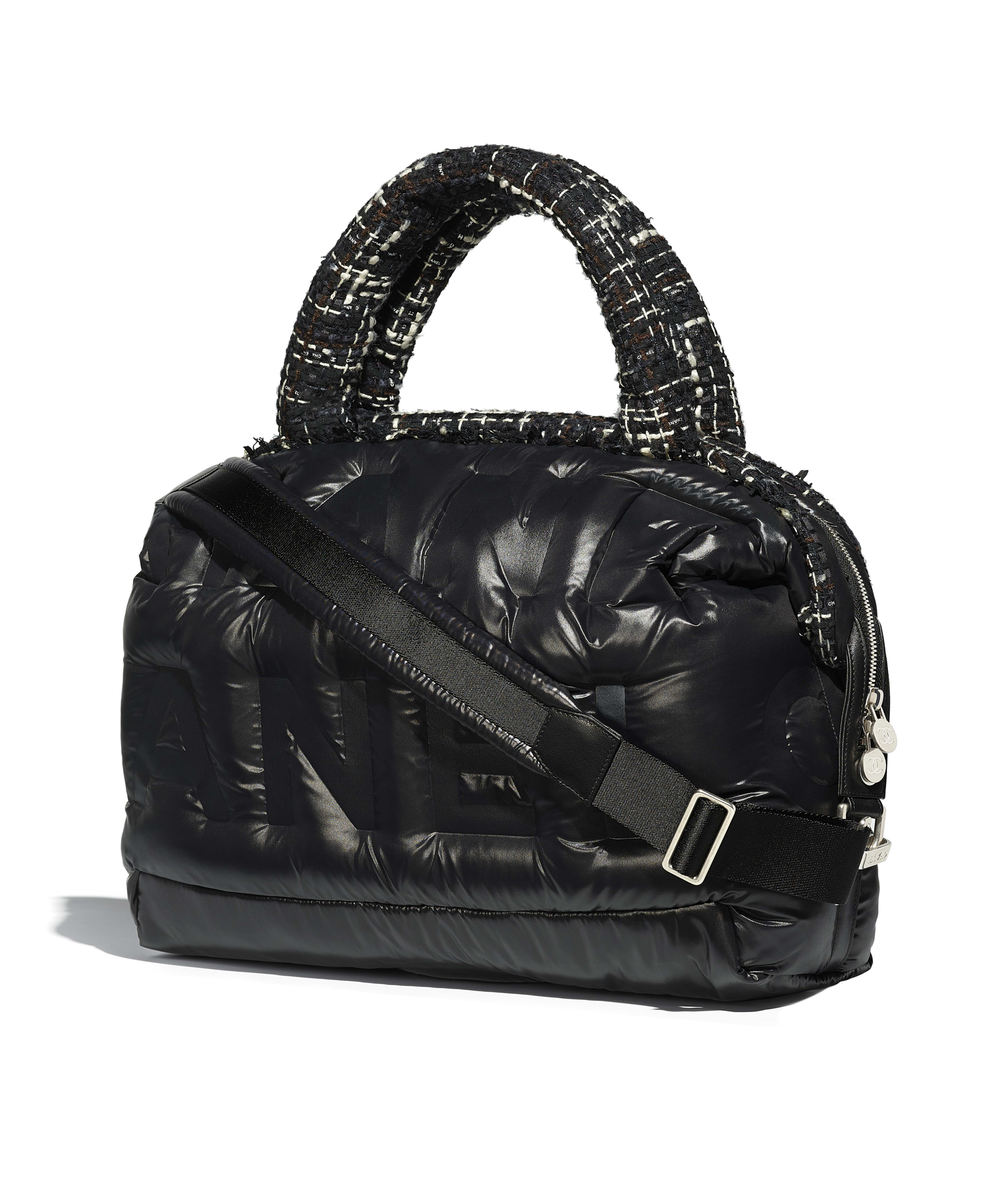 Bowling Bag Nylon Tweed Silver Tone Metal Black Navy Brown Ecru Ref A91937y83830k0991