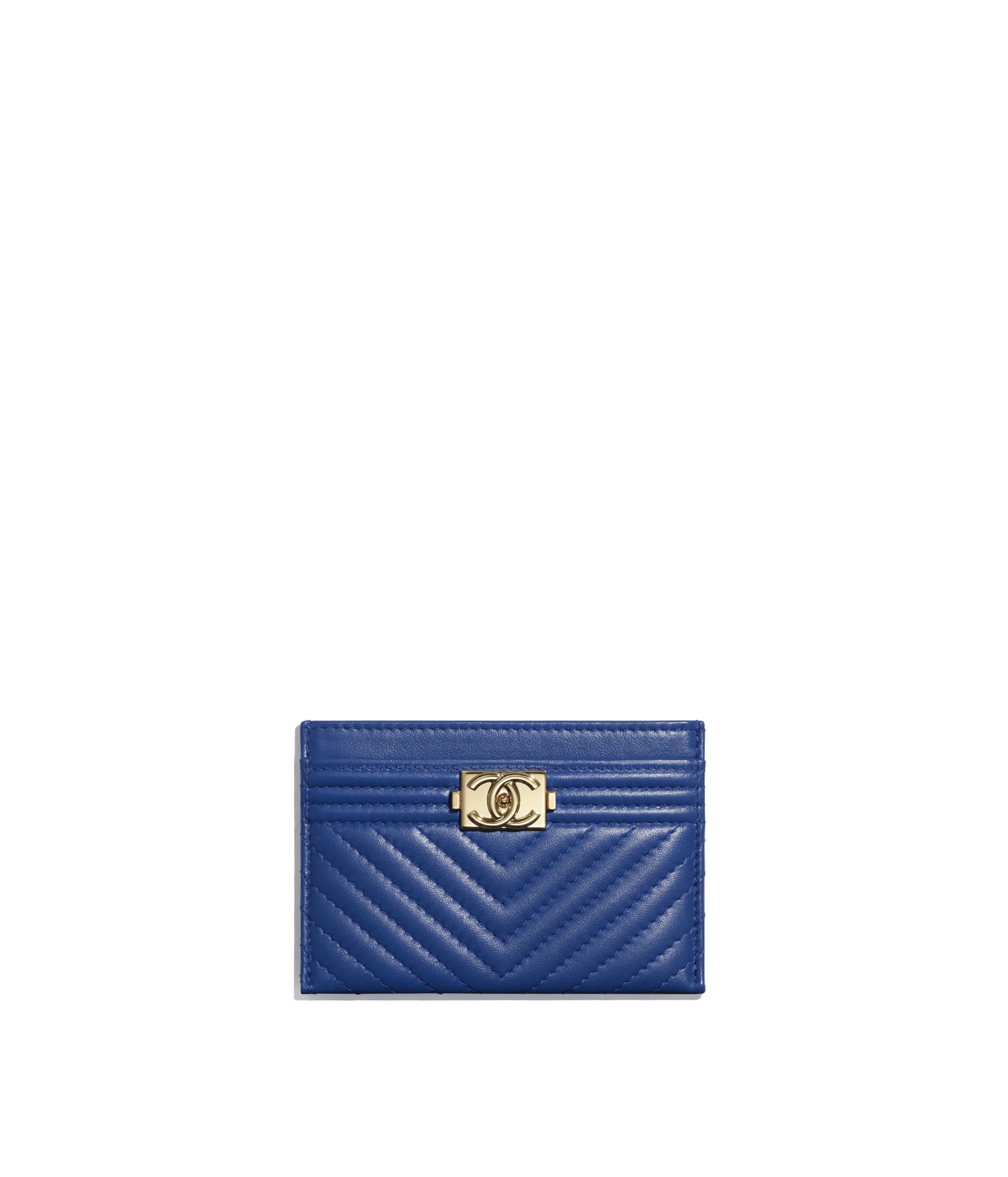 d4f38e79a38d BOY CHANEL Card Holder Lambskin & Gold-Tone Metal, Dark Blue Ref.  A84431B00635N4708