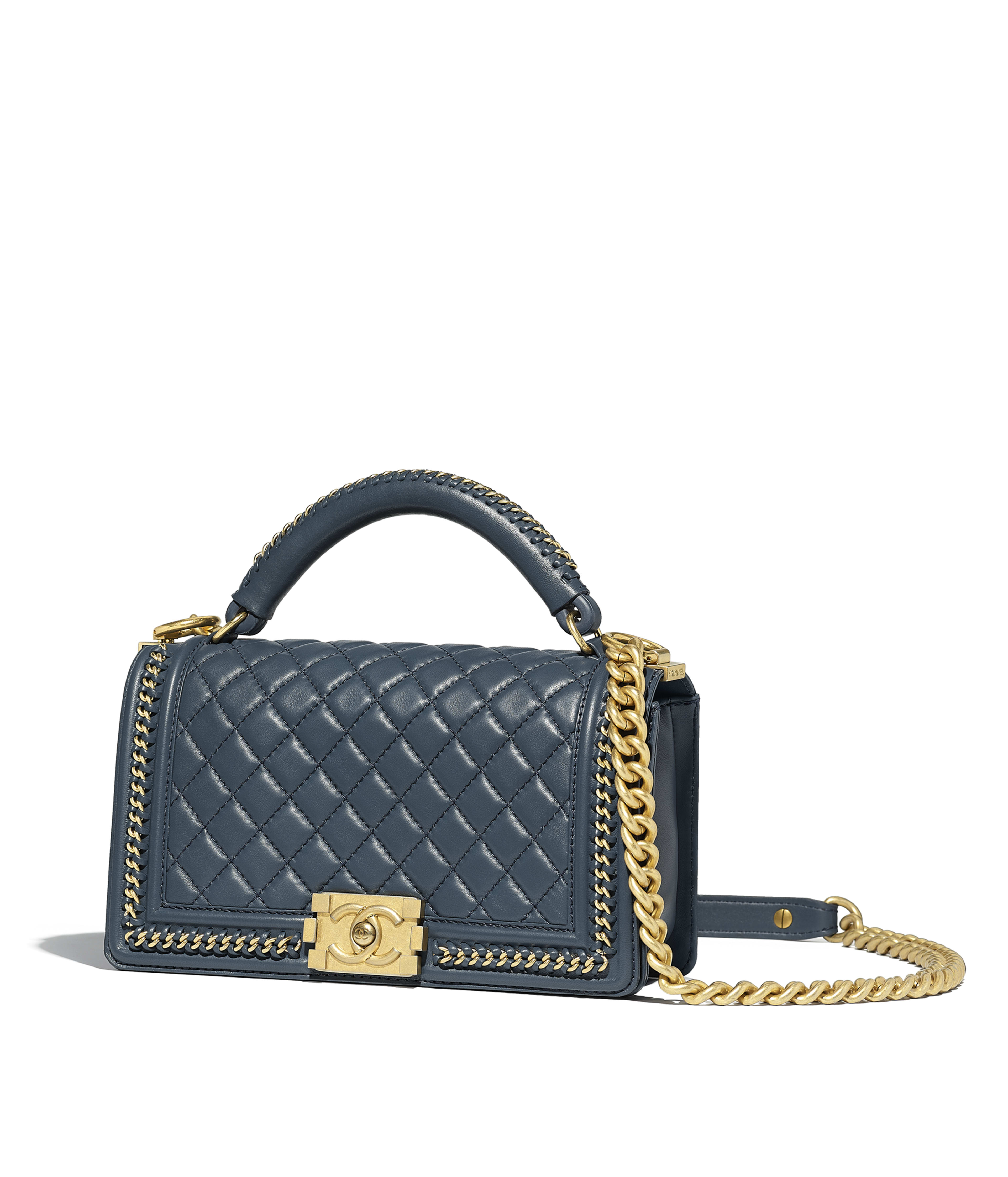 Boy Chanel Flap Bag With Handle Calfskin Gold Tone Metal Blue Ref A94804y099395b311
