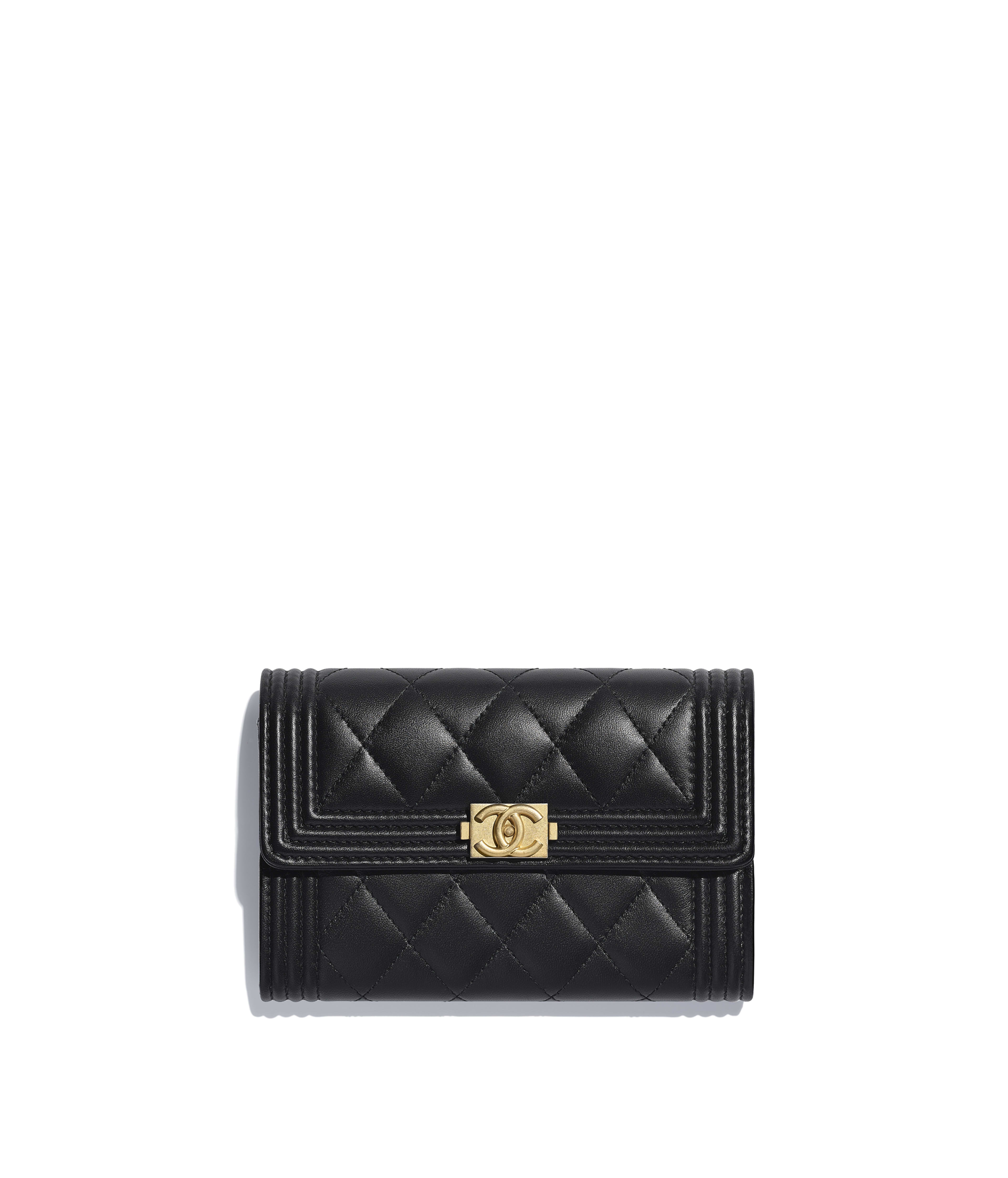 374063d5ccbf BOY CHANEL Flap Wallet Lambskin & Gold-Tone Metal, Black Ref.  A84302Y0765994305