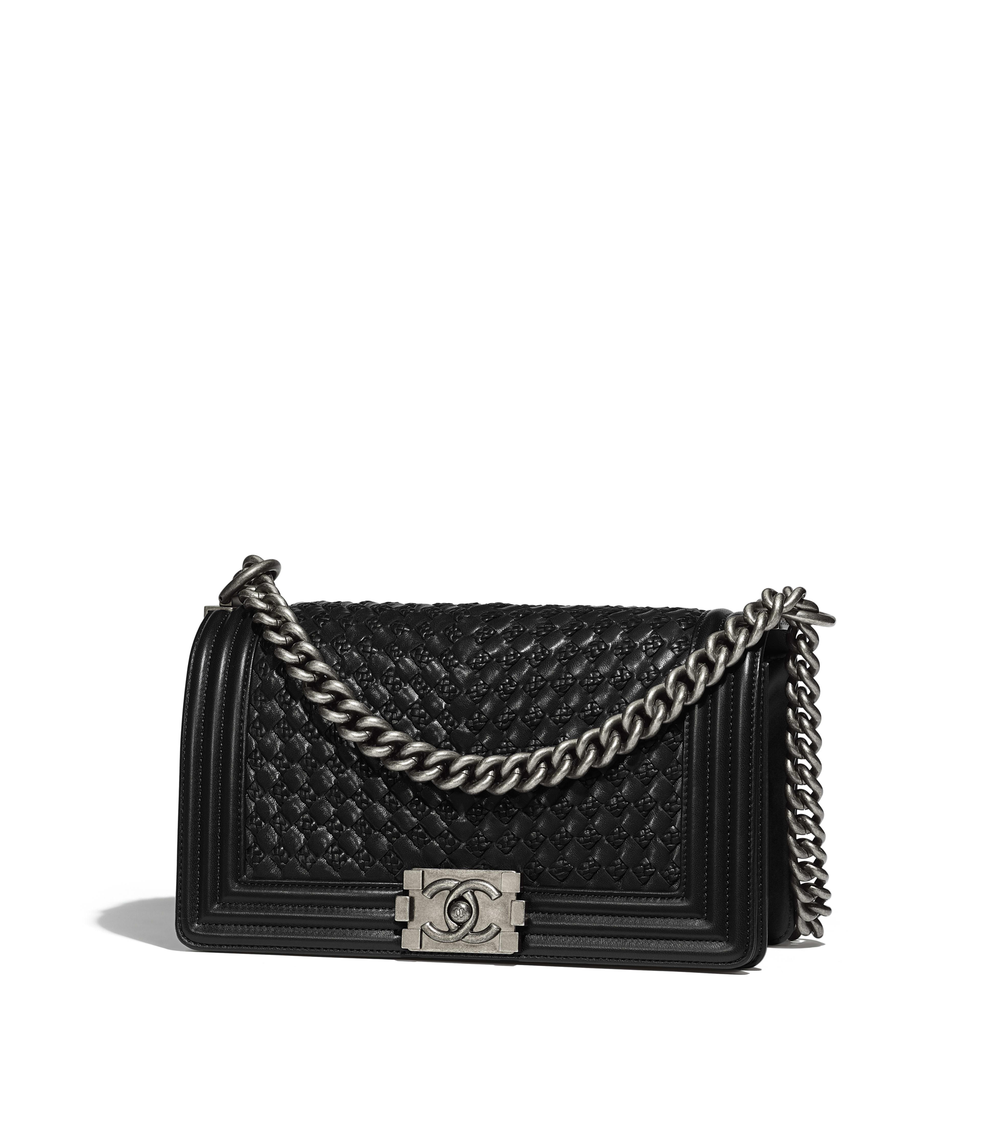 Boy Chanel Handbag Braided Calfskin Ruthenium Finish Metal Black Ref A67086y8362494305