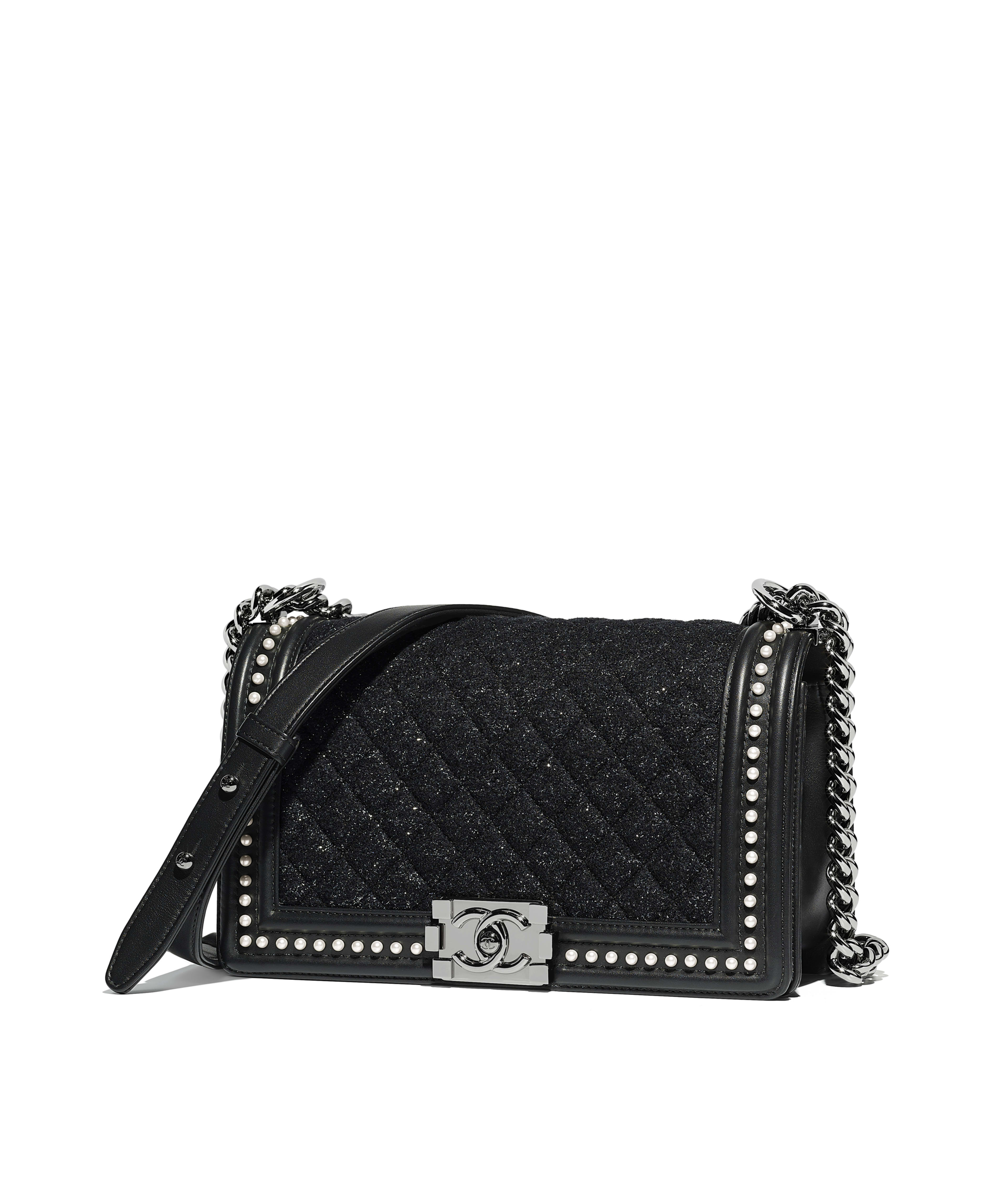 Boy Chanel Handbag Tweed Calfskin Imitation Pearls Ruthenium Finish Metal Black Ref A67086y83826k1035