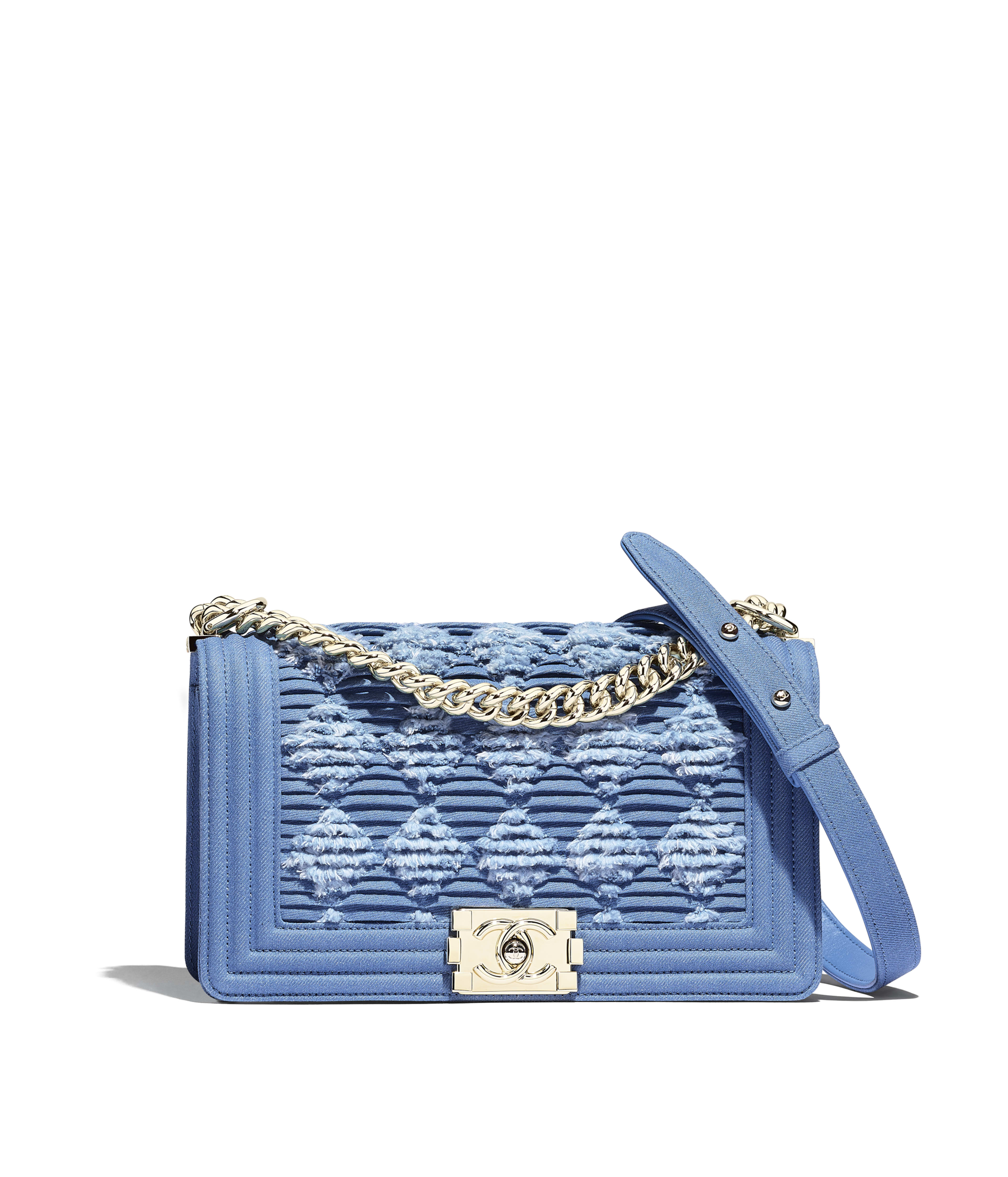504d772a9247 BOY CHANEL Handbag Pleated Denim & Gold-Tone Metal, Light Blue Ref.  A67086B00300N4418