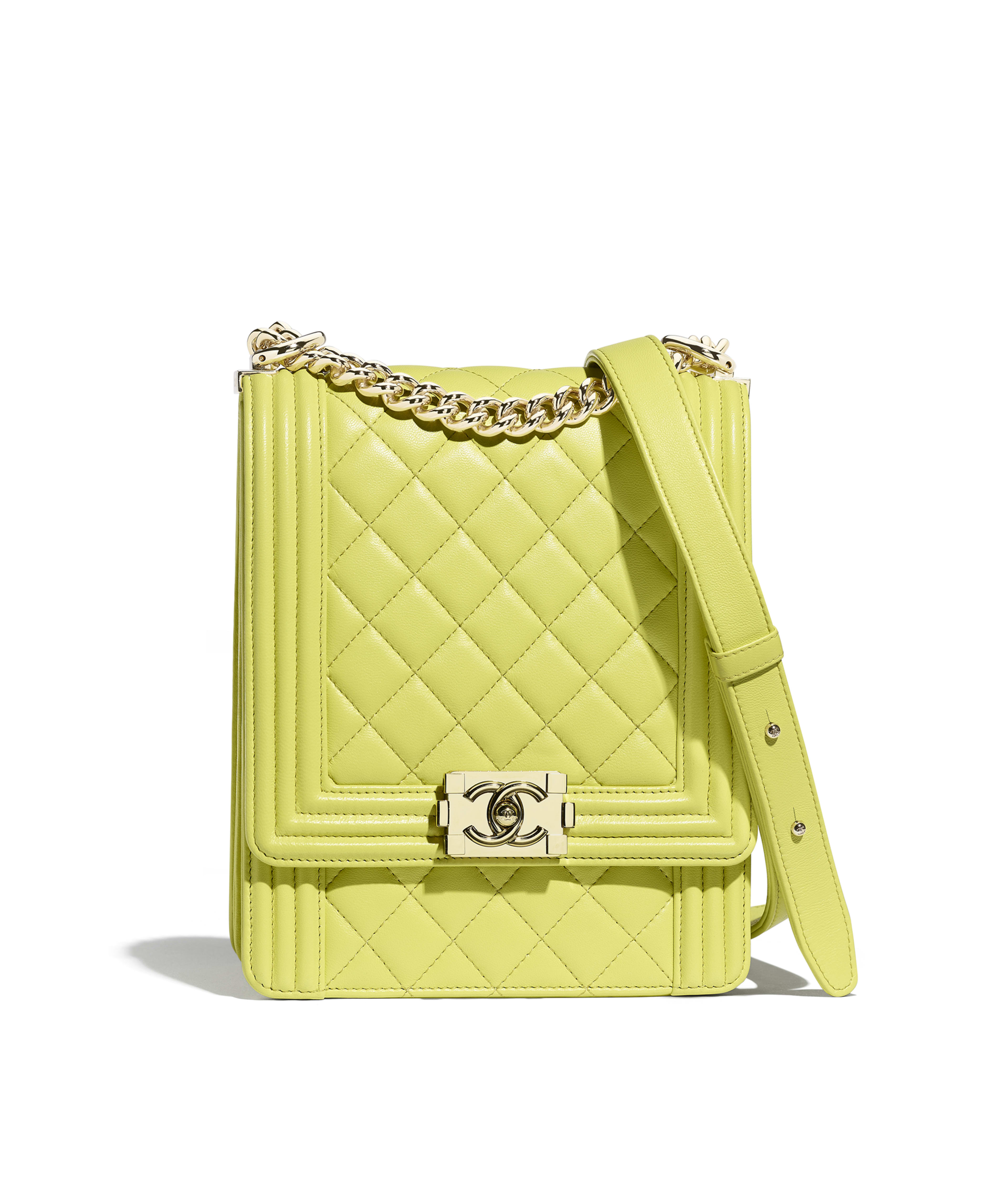 BOY CHANEL Handbag Calfskin   Gold-Tone Metal, Light Green Ref.  AS0130Y25569N0410 c502b813265
