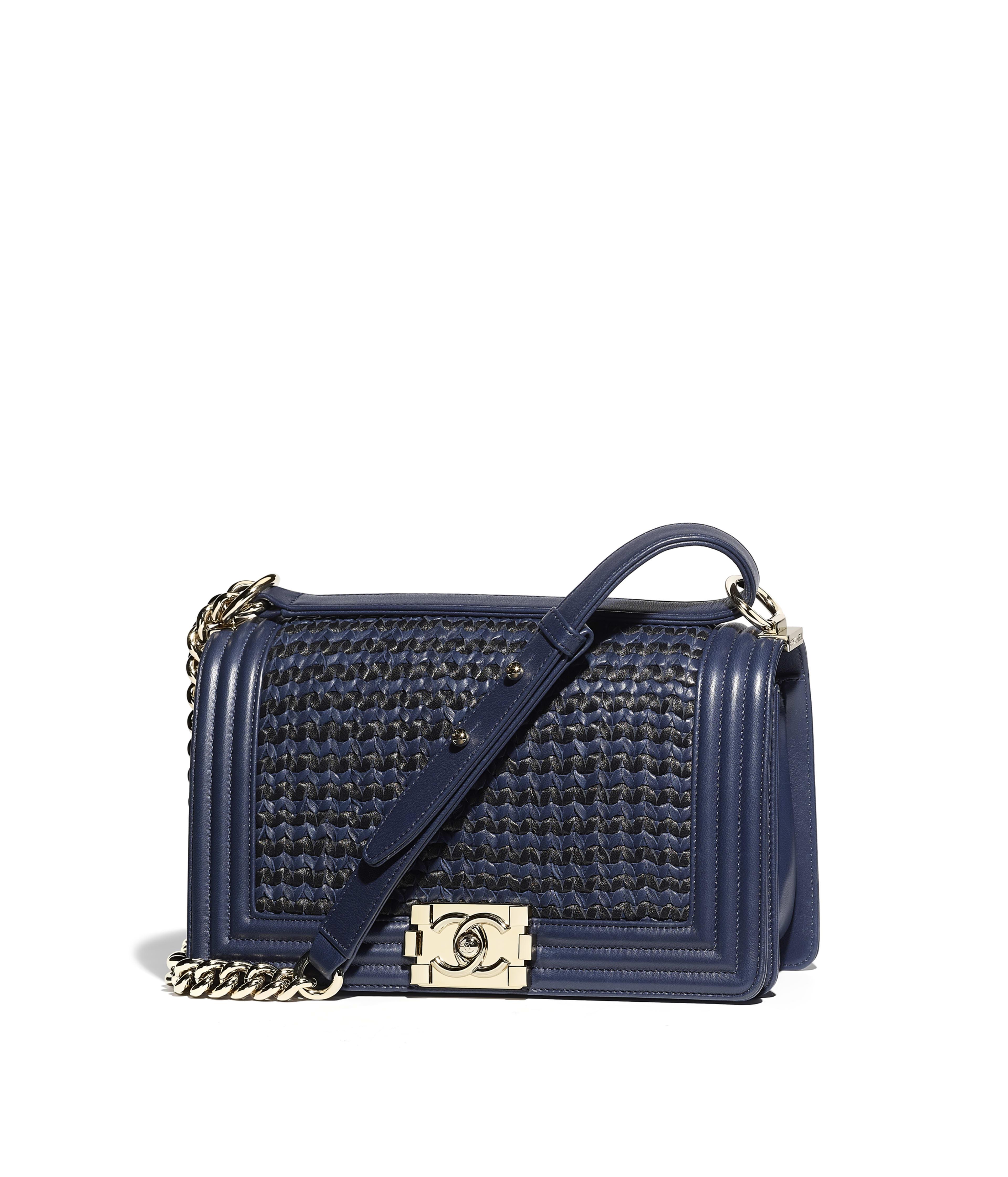 Boy Chanel Handbag Braided Lambskin Calfskin Gold Tone Metal Navy Blue Black Ref A67086y83535c0202