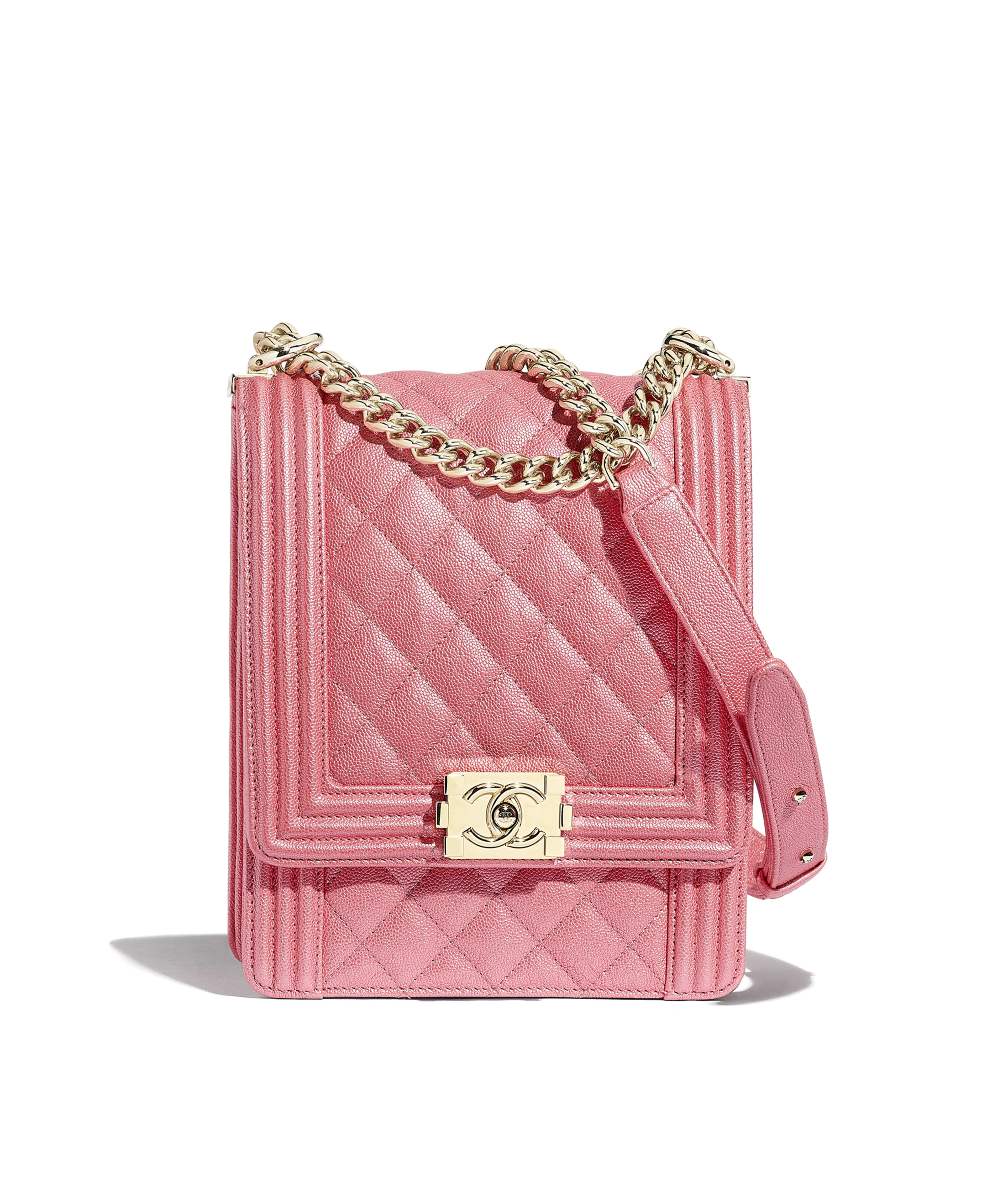 BOY CHANEL Handbag Metallic Grained Calfskin   Gold-Tone Metal, Pink Ref.  AS0130B00110N0432 5ec9a27d16