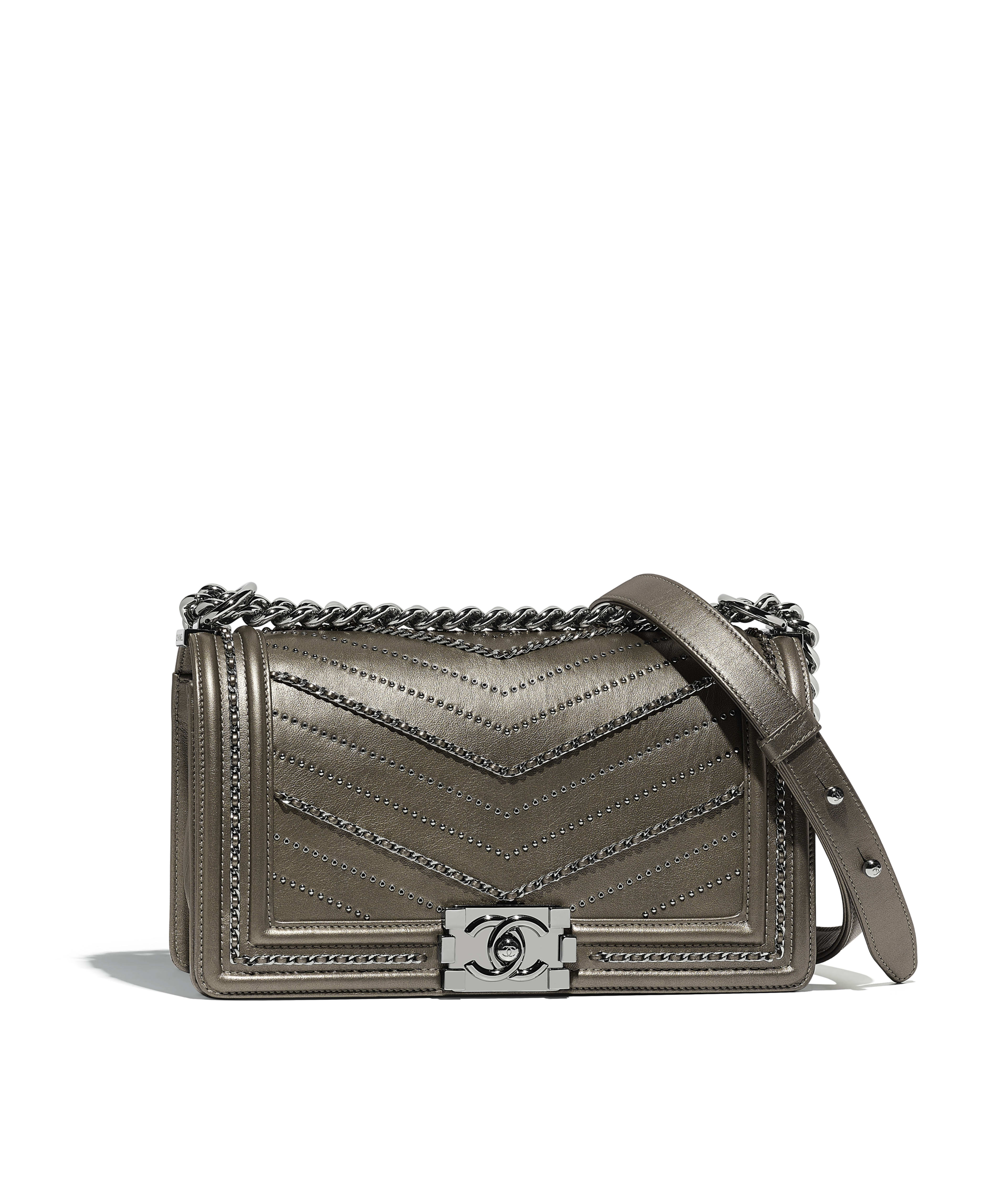 Boy Chanel Handbag Metallic Crumpled Calfskin Ruthenium Finish Metal Silver Ref A67086y839685b552