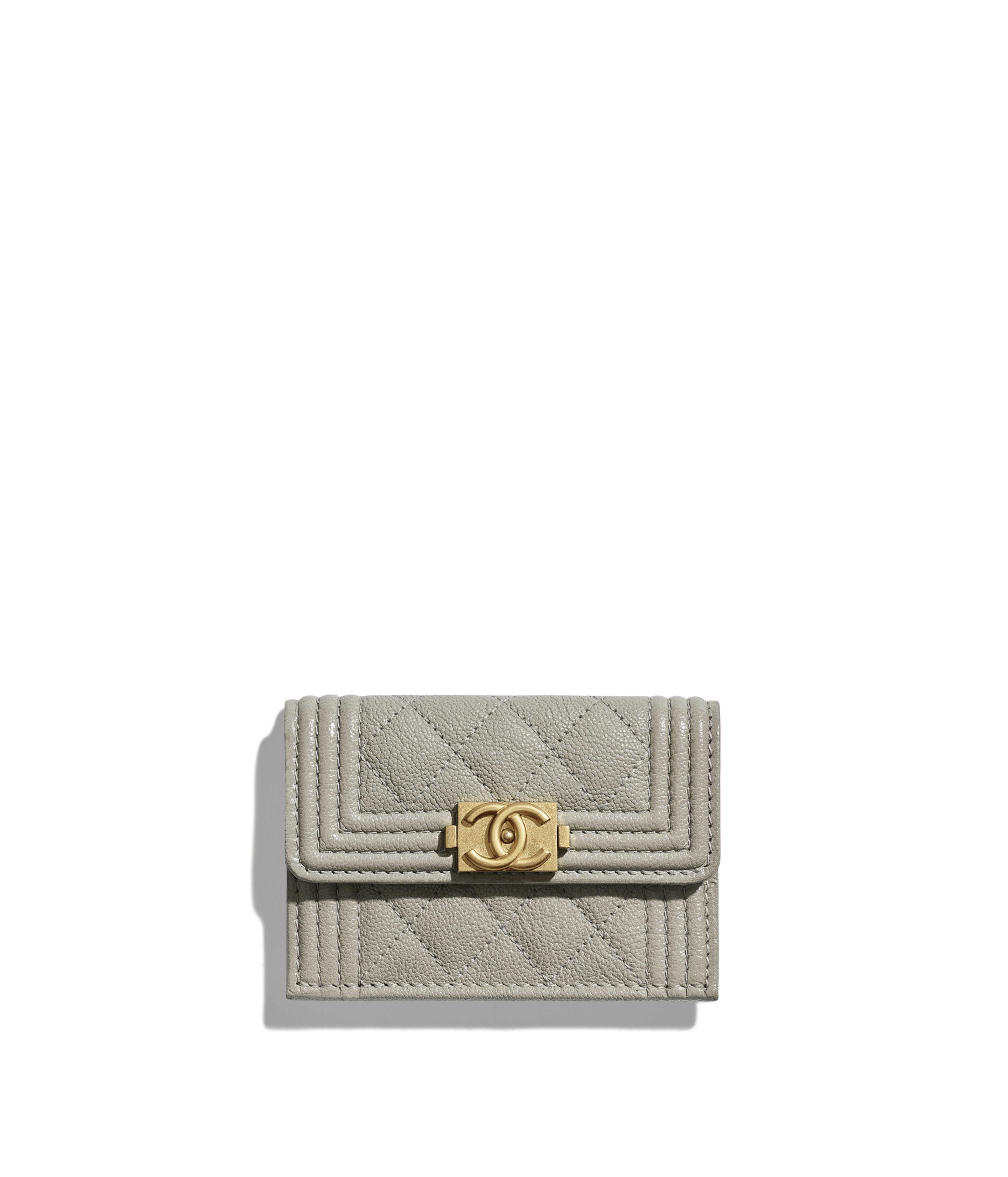 50bf440d4cbb BOY CHANEL Small Flap Wallet Grained Calfskin & Gold-Tone Metal, Gray Ref.  A84432Y83621N0416