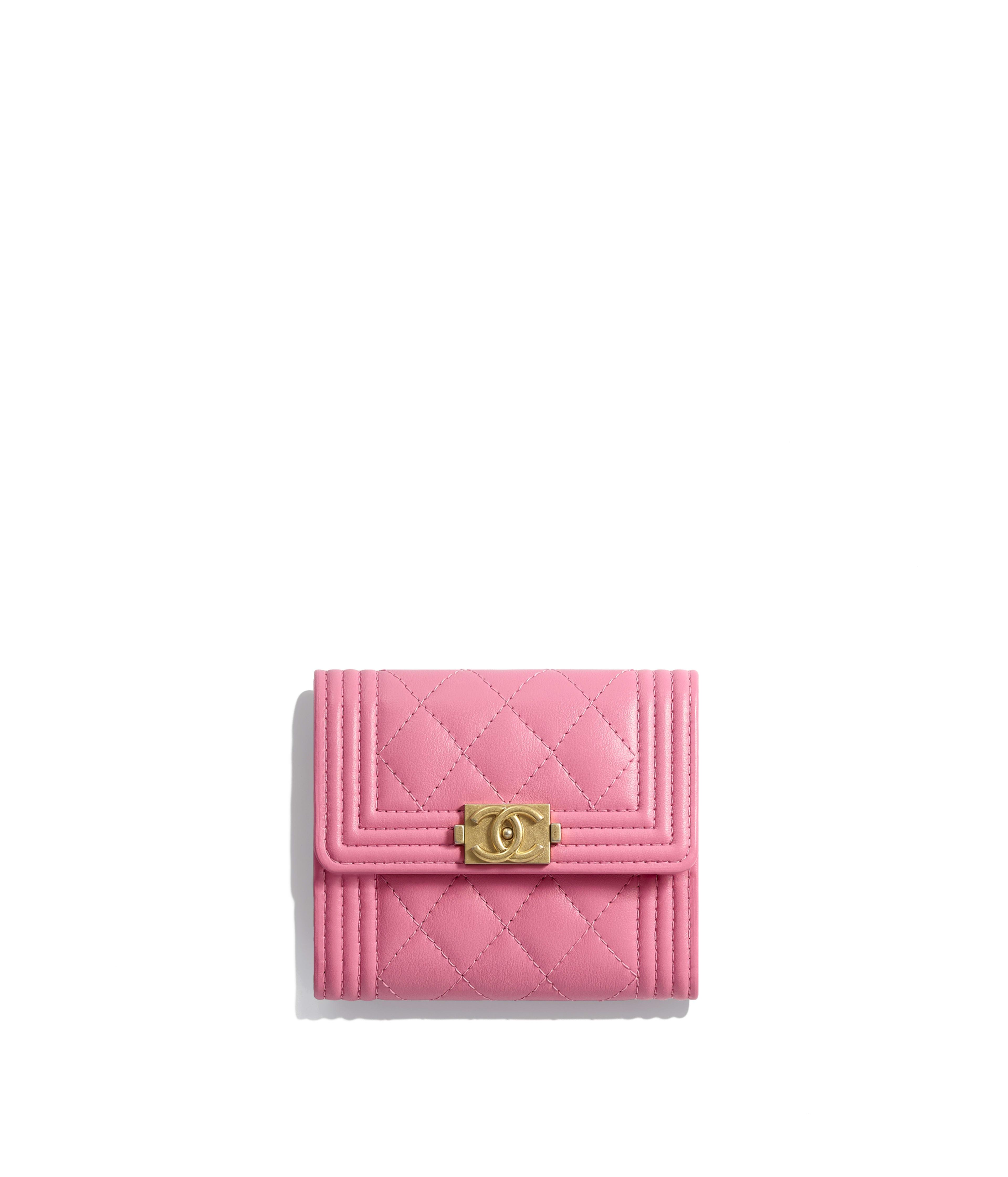 Boy Chanel Small Flap Wallet Calfskin Gold Tone Metal Pink Ref A84068y099395b454