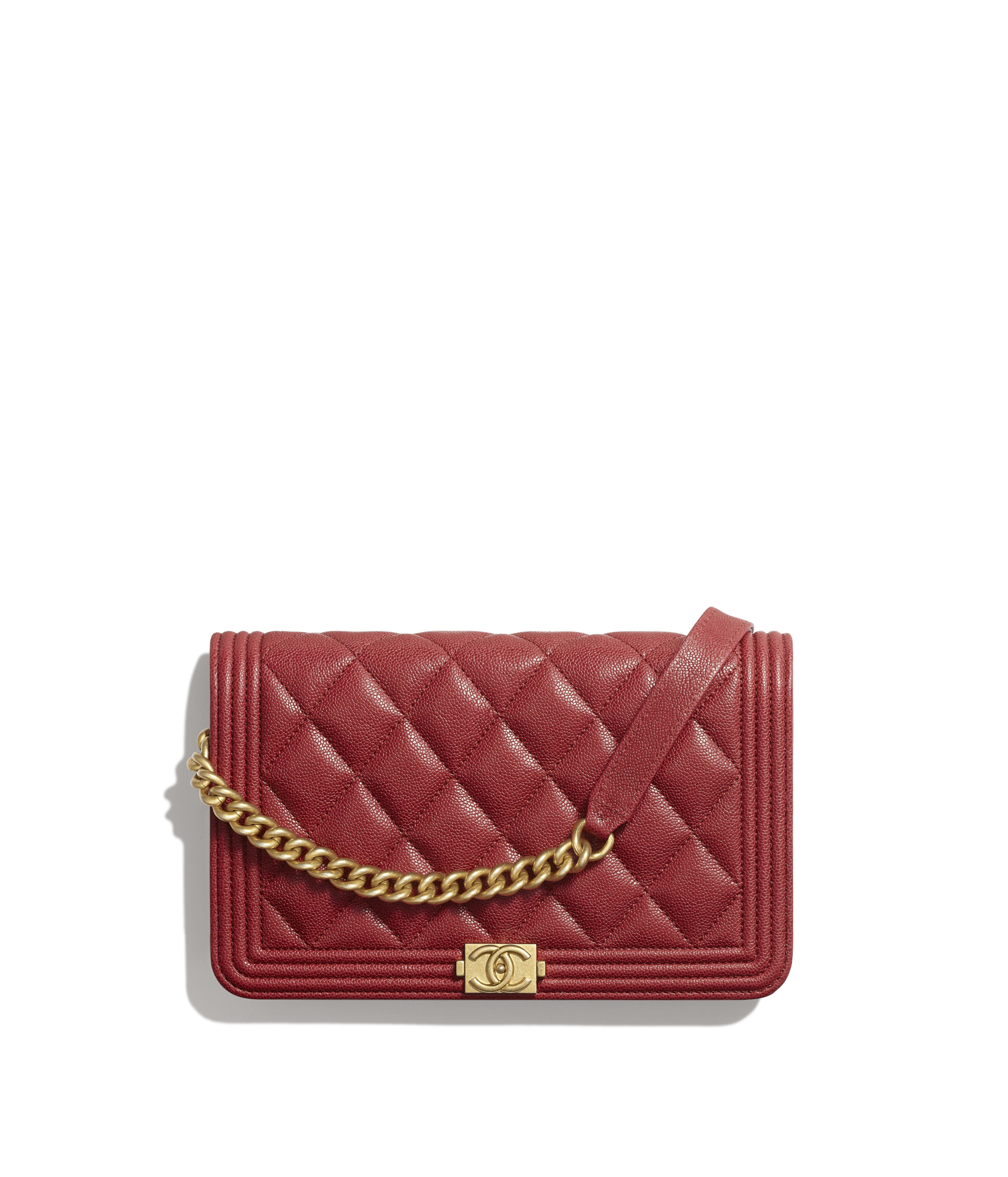 c15d3b55f BOY CHANEL Wallet on Chain Grained Calfskin & Gold-Tone Metal, Red Ref.  A81969Y83621N4711